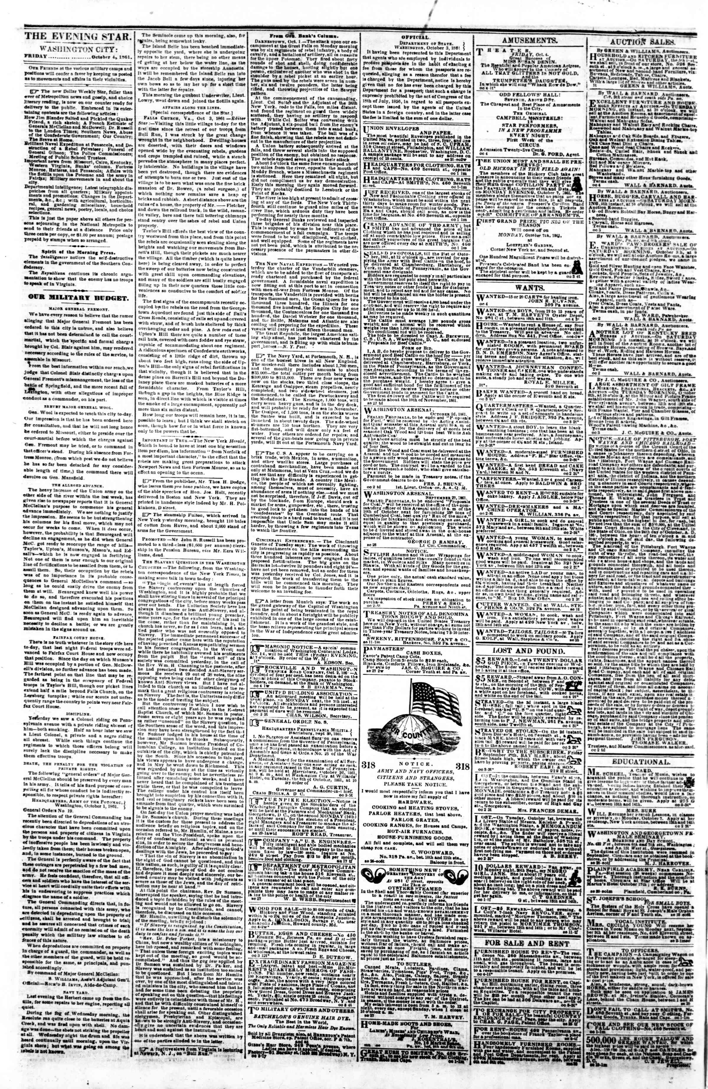 Newspaper of Evening Star dated October 4, 1861 Page 2