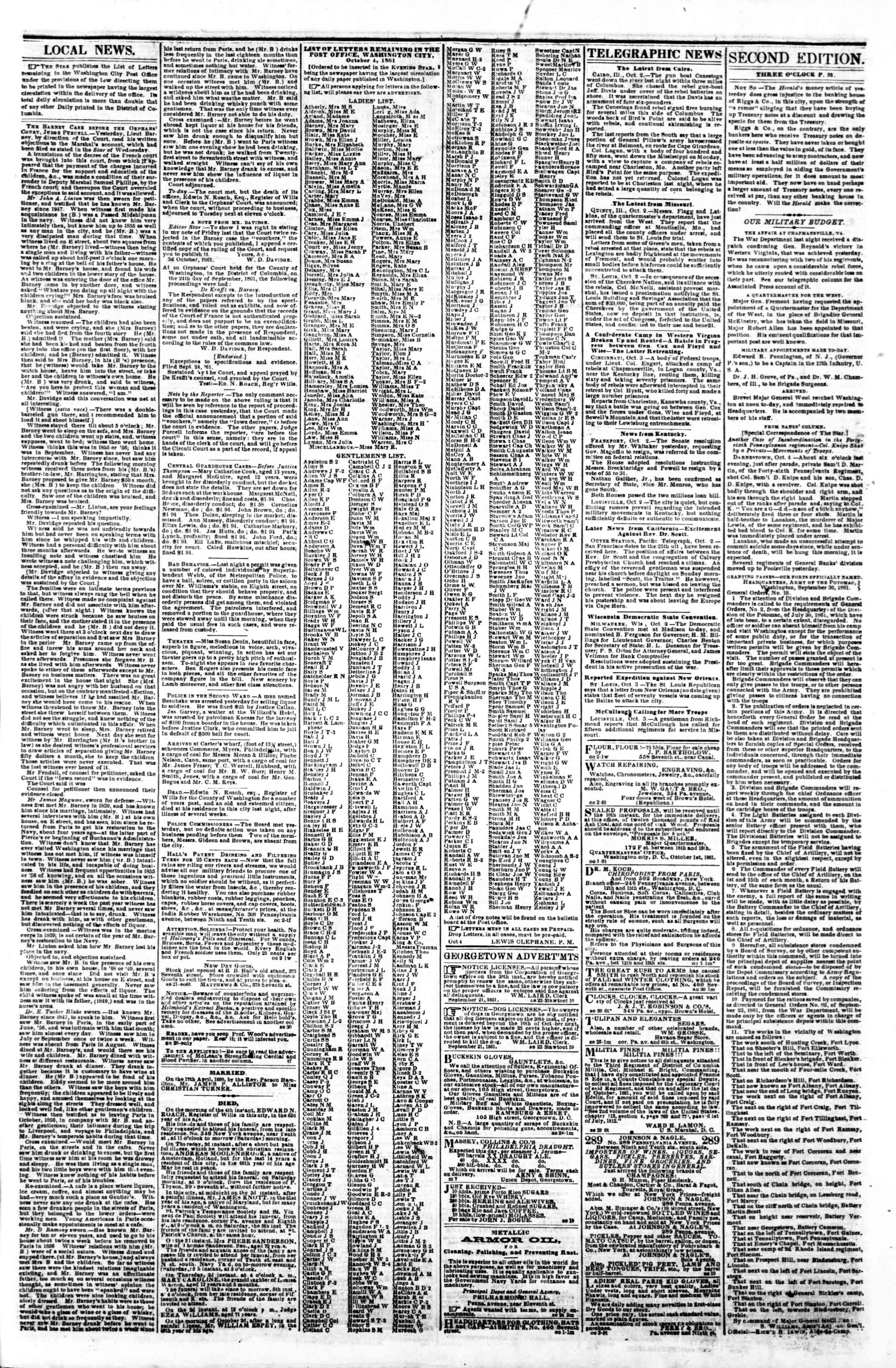 Newspaper of Evening Star dated October 4, 1861 Page 3