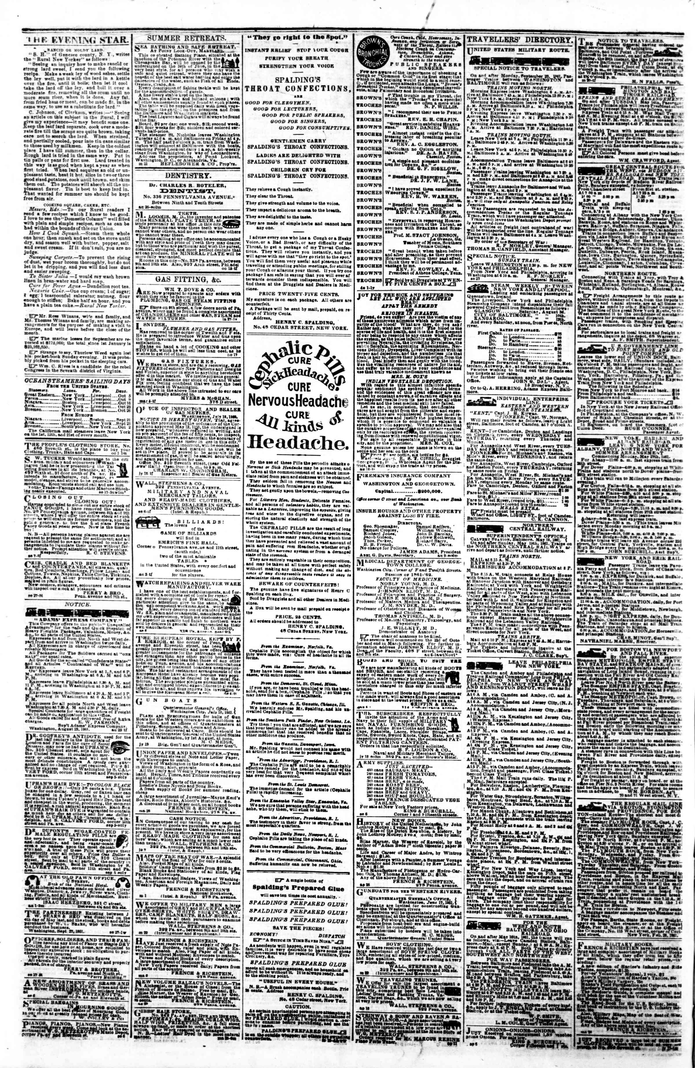 Newspaper of Evening Star dated October 4, 1861 Page 4