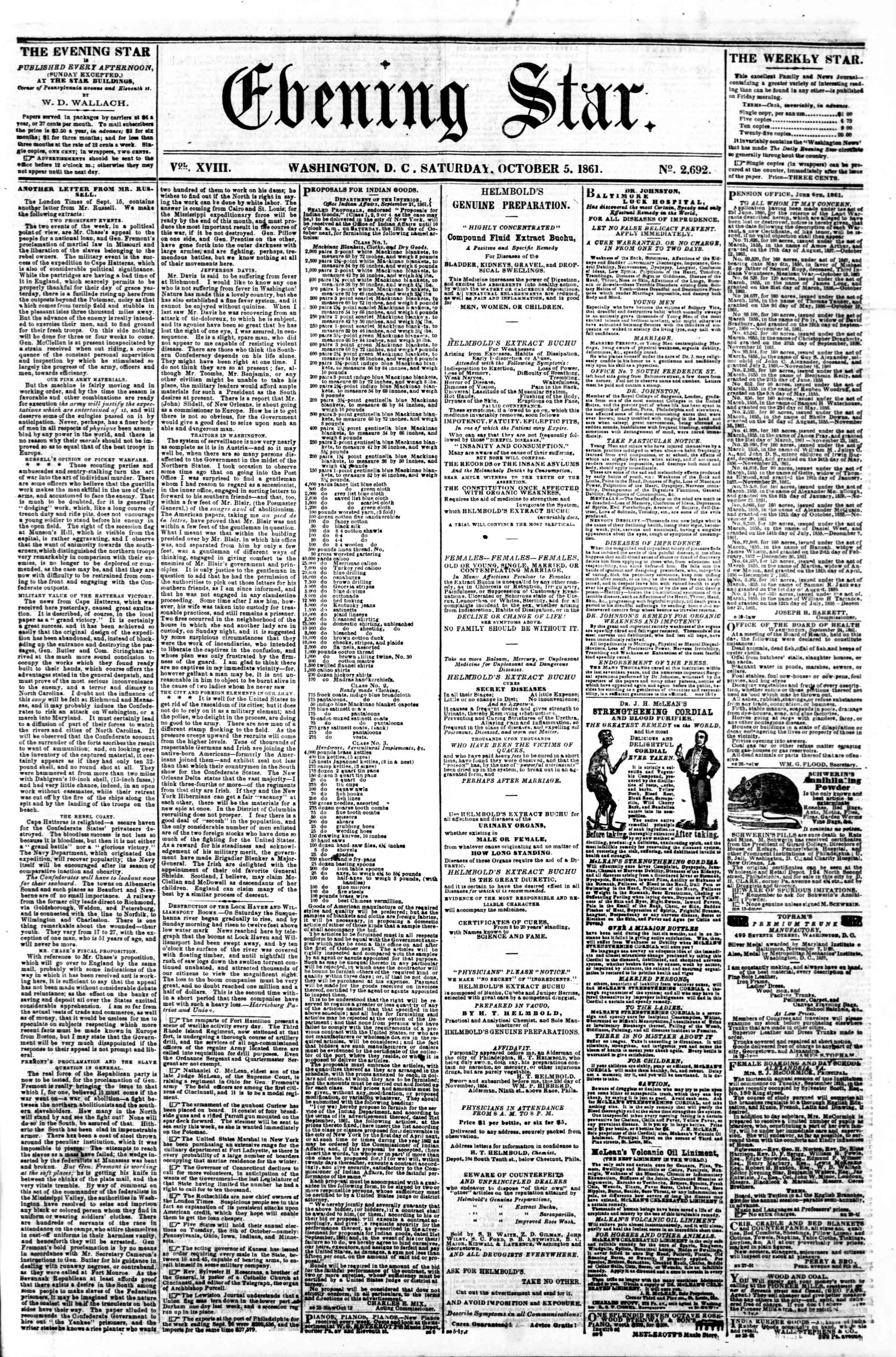 Newspaper of Evening Star dated 5 Ekim 1861 Page 1