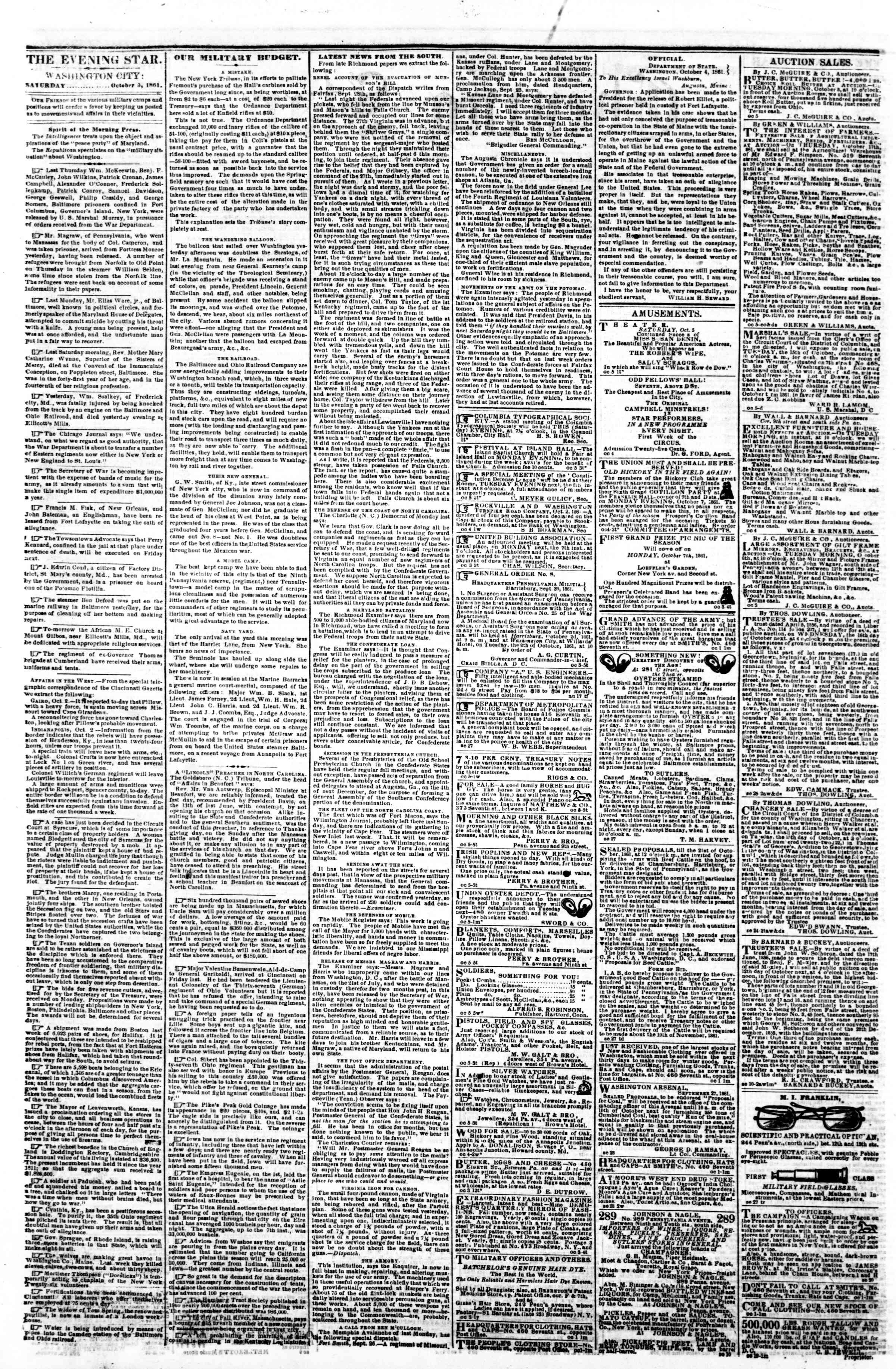 Newspaper of Evening Star dated October 5, 1861 Page 2