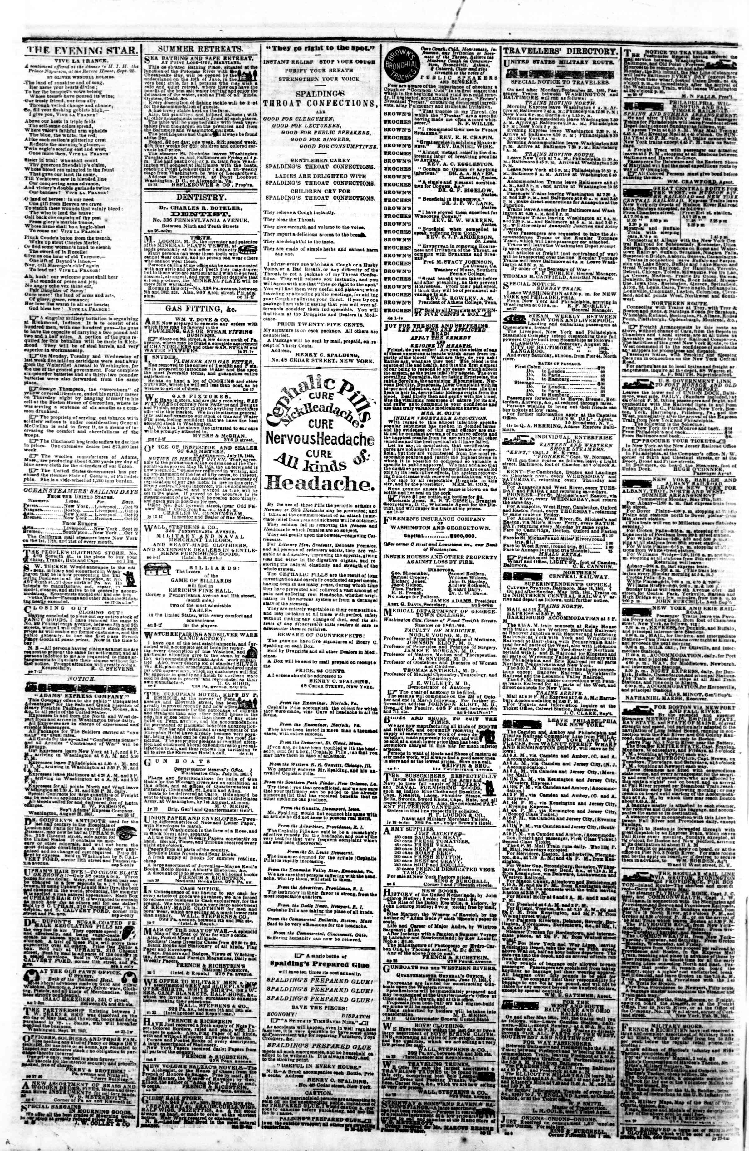 Newspaper of Evening Star dated October 5, 1861 Page 4