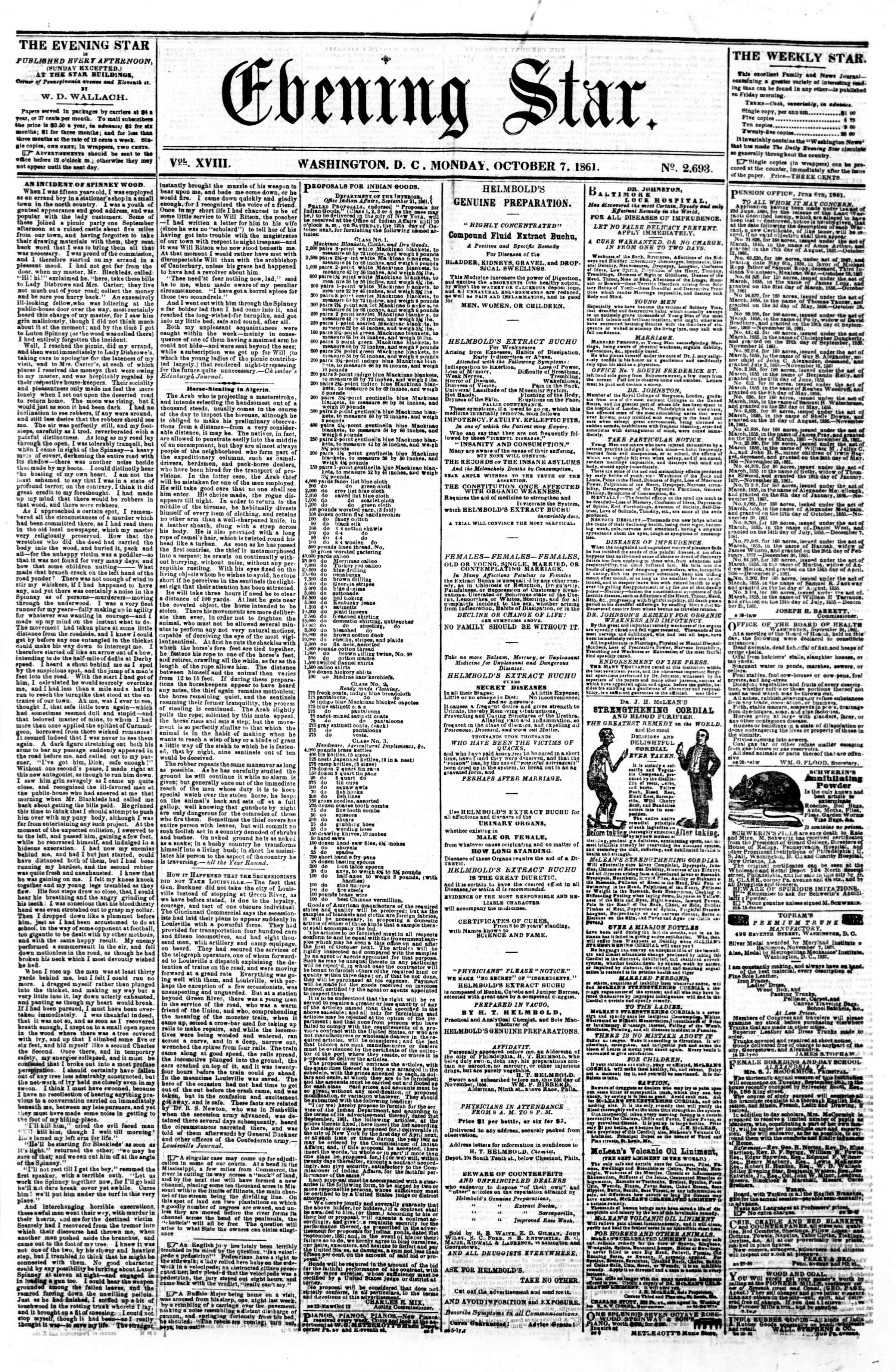 Newspaper of Evening Star dated October 7, 1861 Page 1