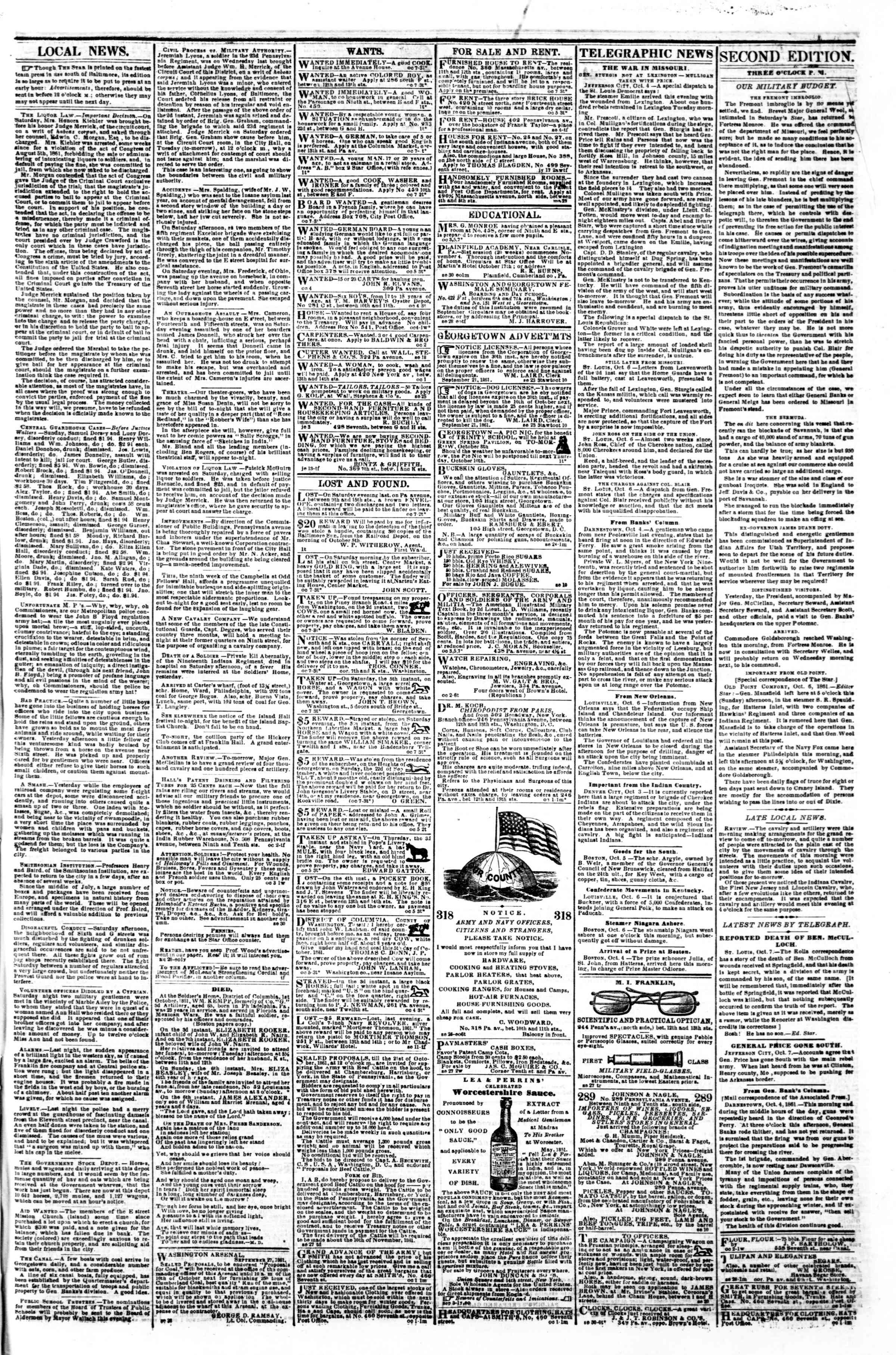Newspaper of Evening Star dated October 7, 1861 Page 3