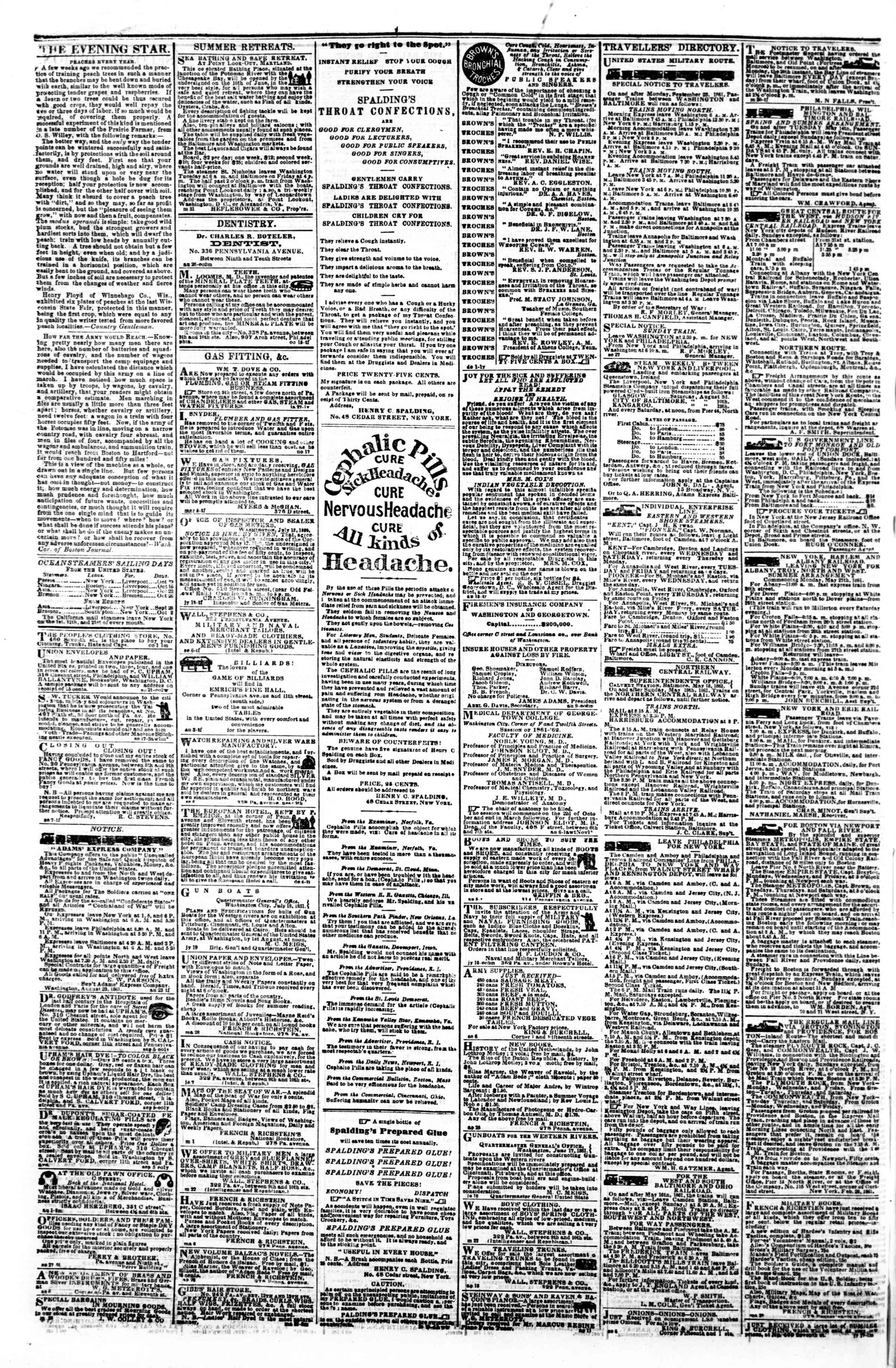 Newspaper of Evening Star dated October 7, 1861 Page 4