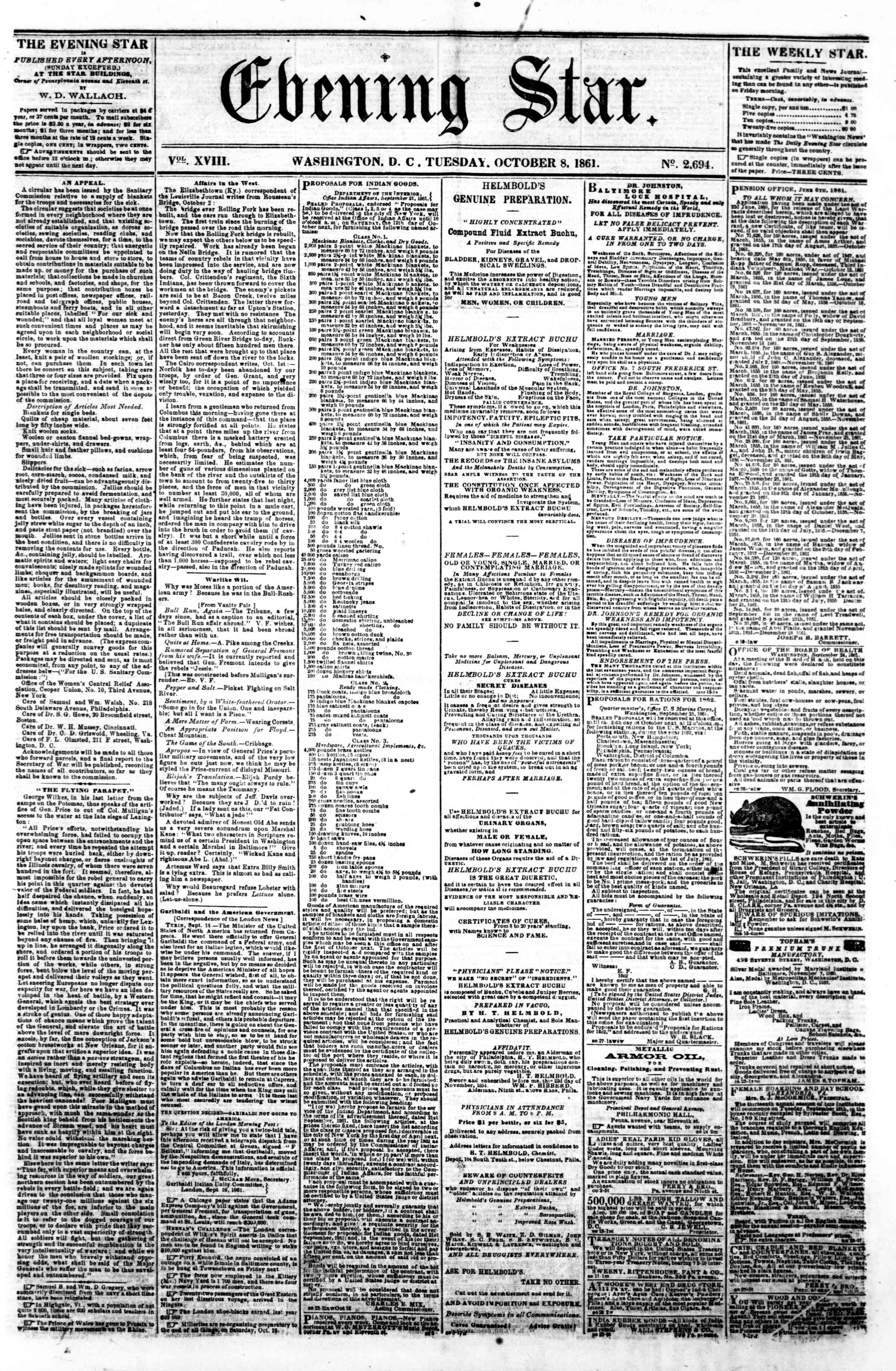 Newspaper of Evening Star dated October 8, 1861 Page 1