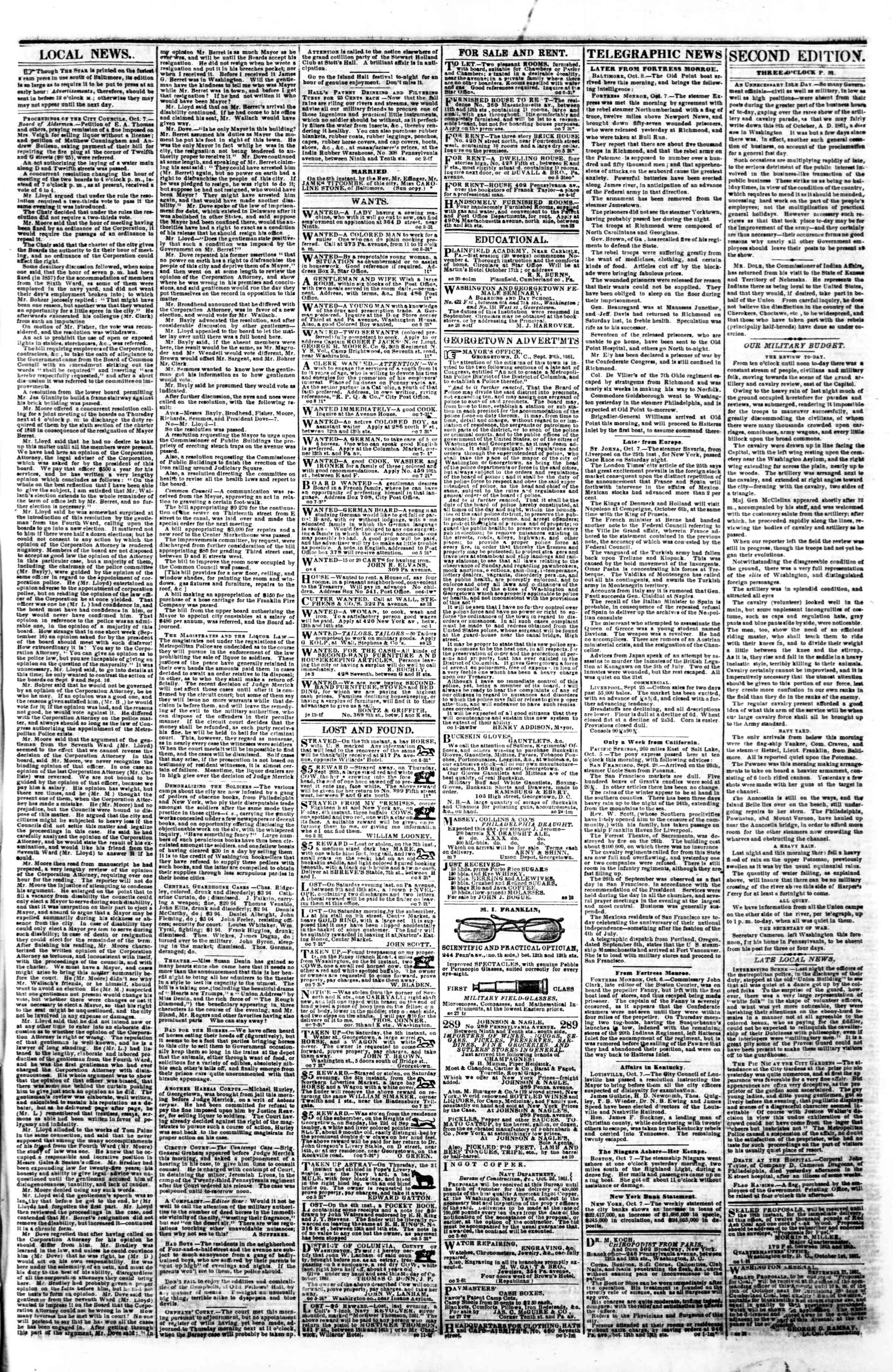 Newspaper of Evening Star dated October 8, 1861 Page 3