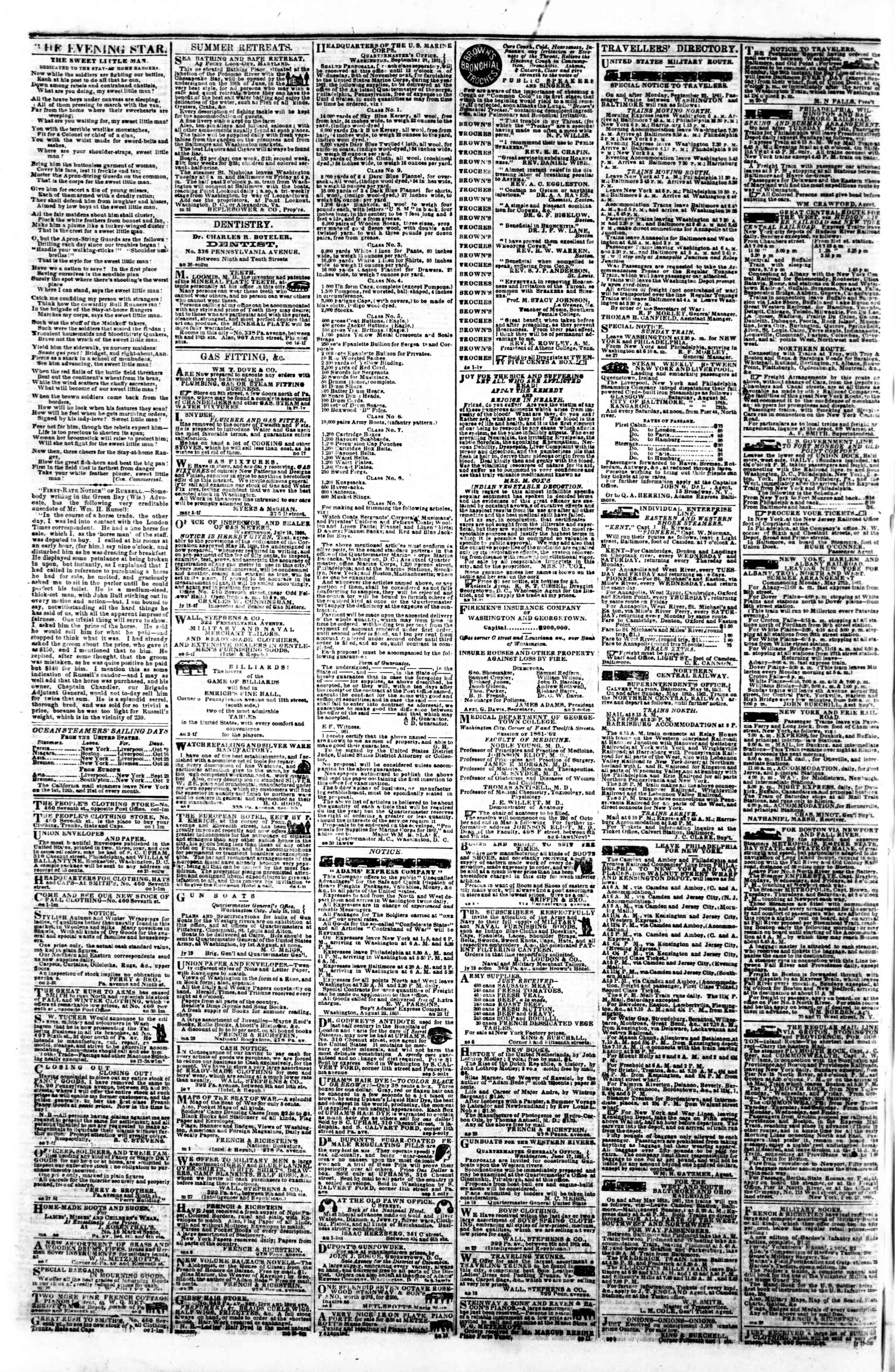 Newspaper of Evening Star dated October 8, 1861 Page 4