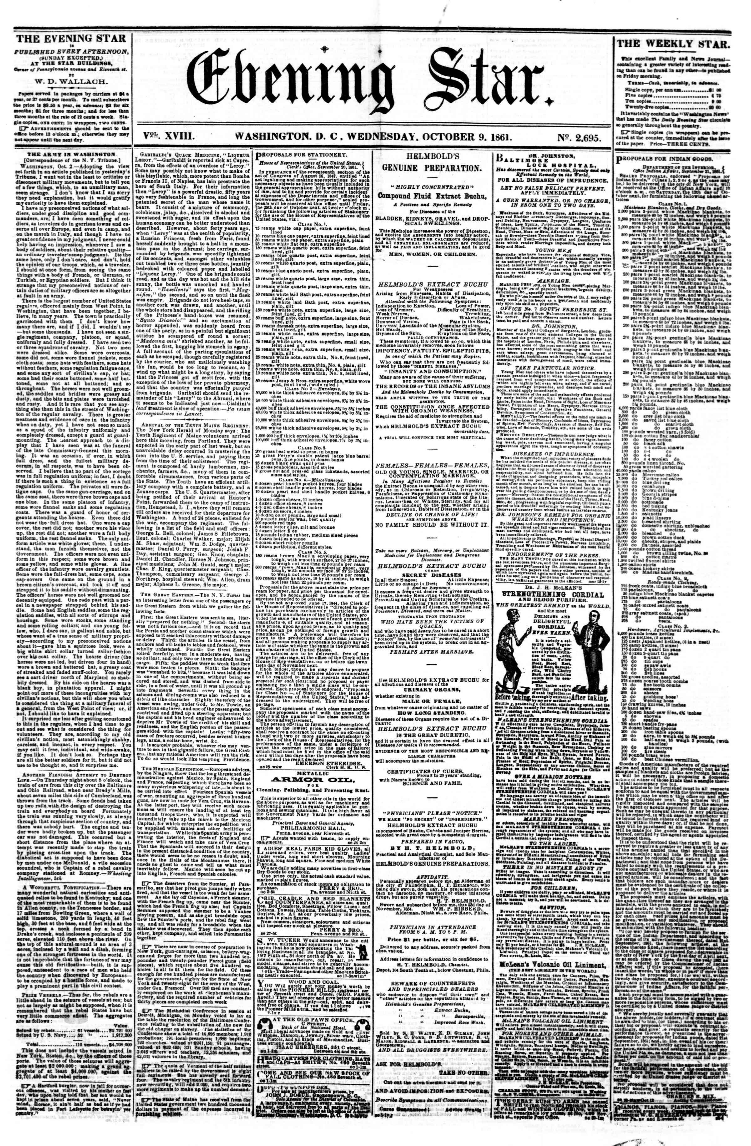 Newspaper of Evening Star dated 9 Ekim 1861 Page 1