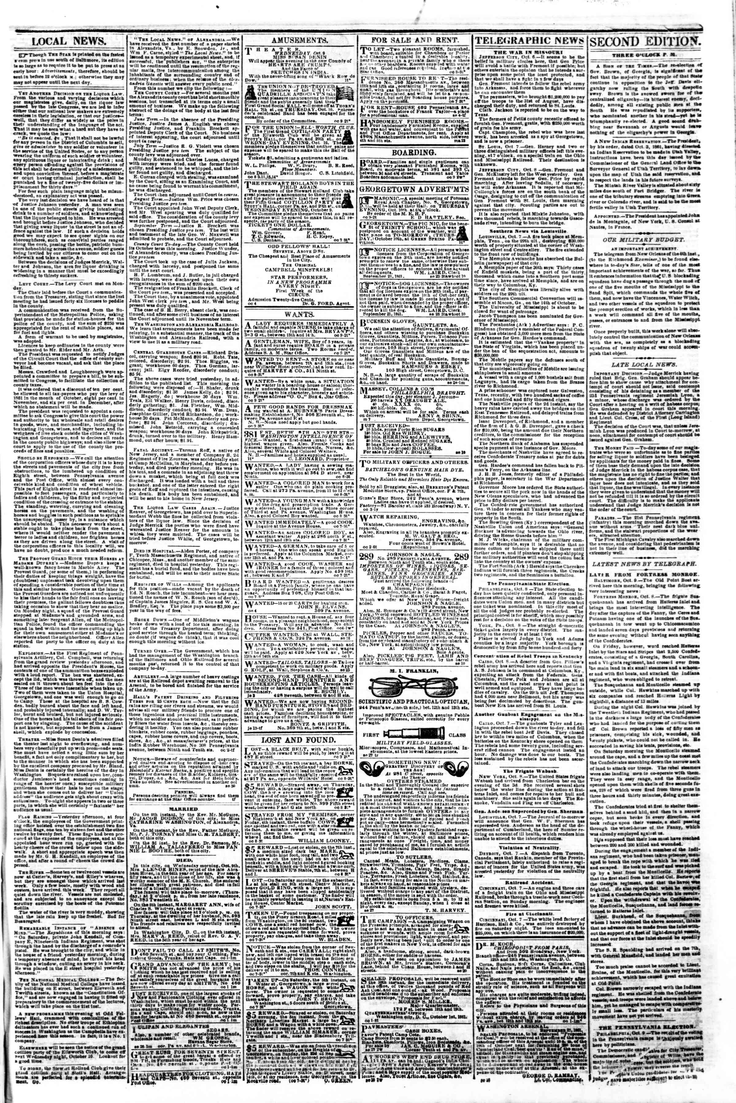 Newspaper of Evening Star dated October 9, 1861 Page 3