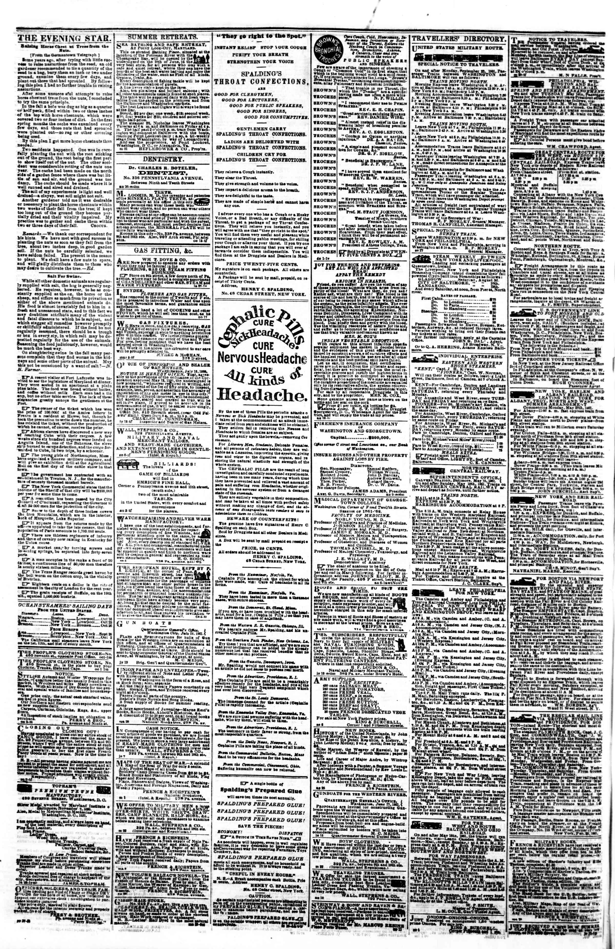 Newspaper of Evening Star dated October 9, 1861 Page 4