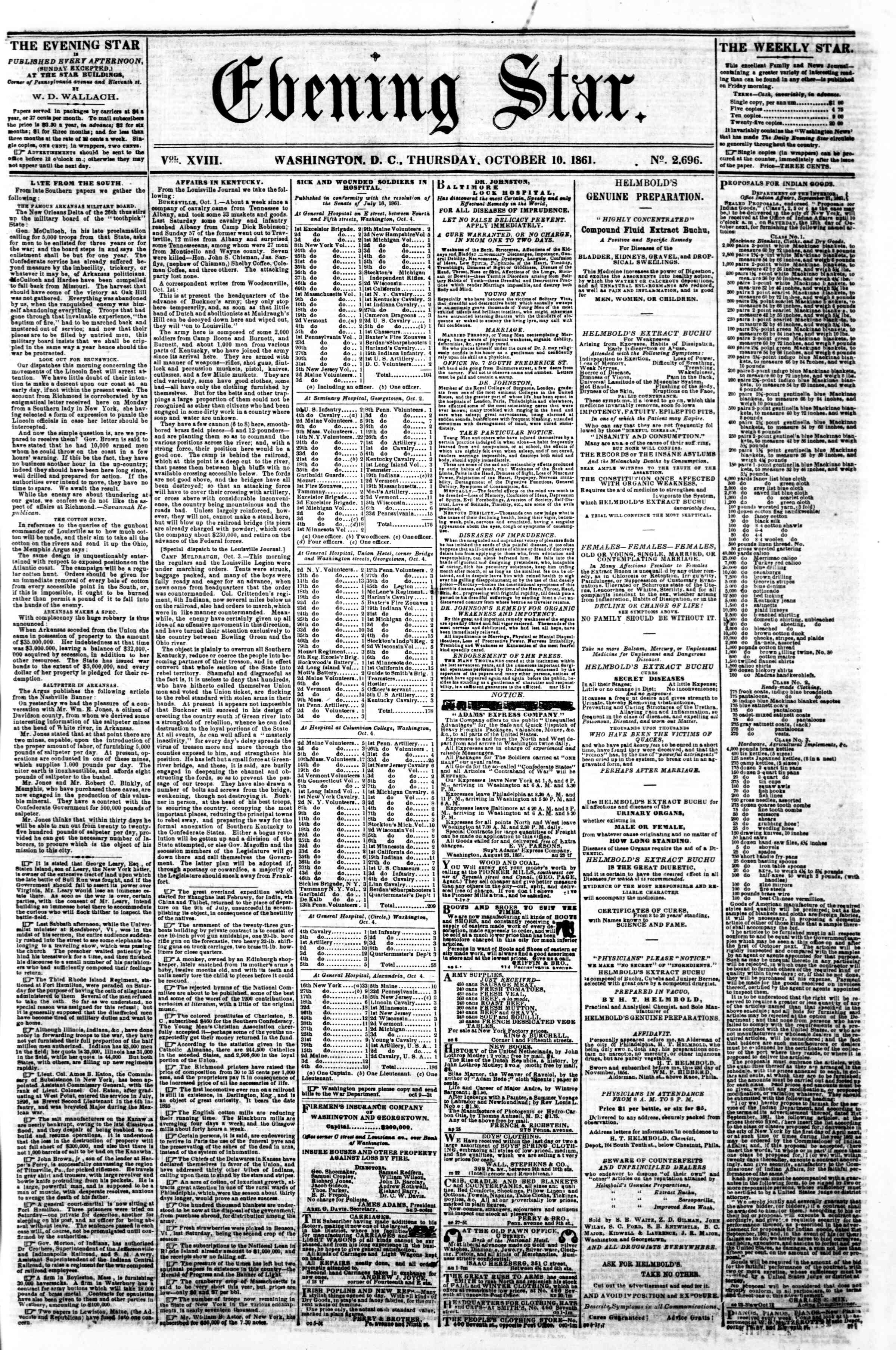 Newspaper of Evening Star dated October 10, 1861 Page 1