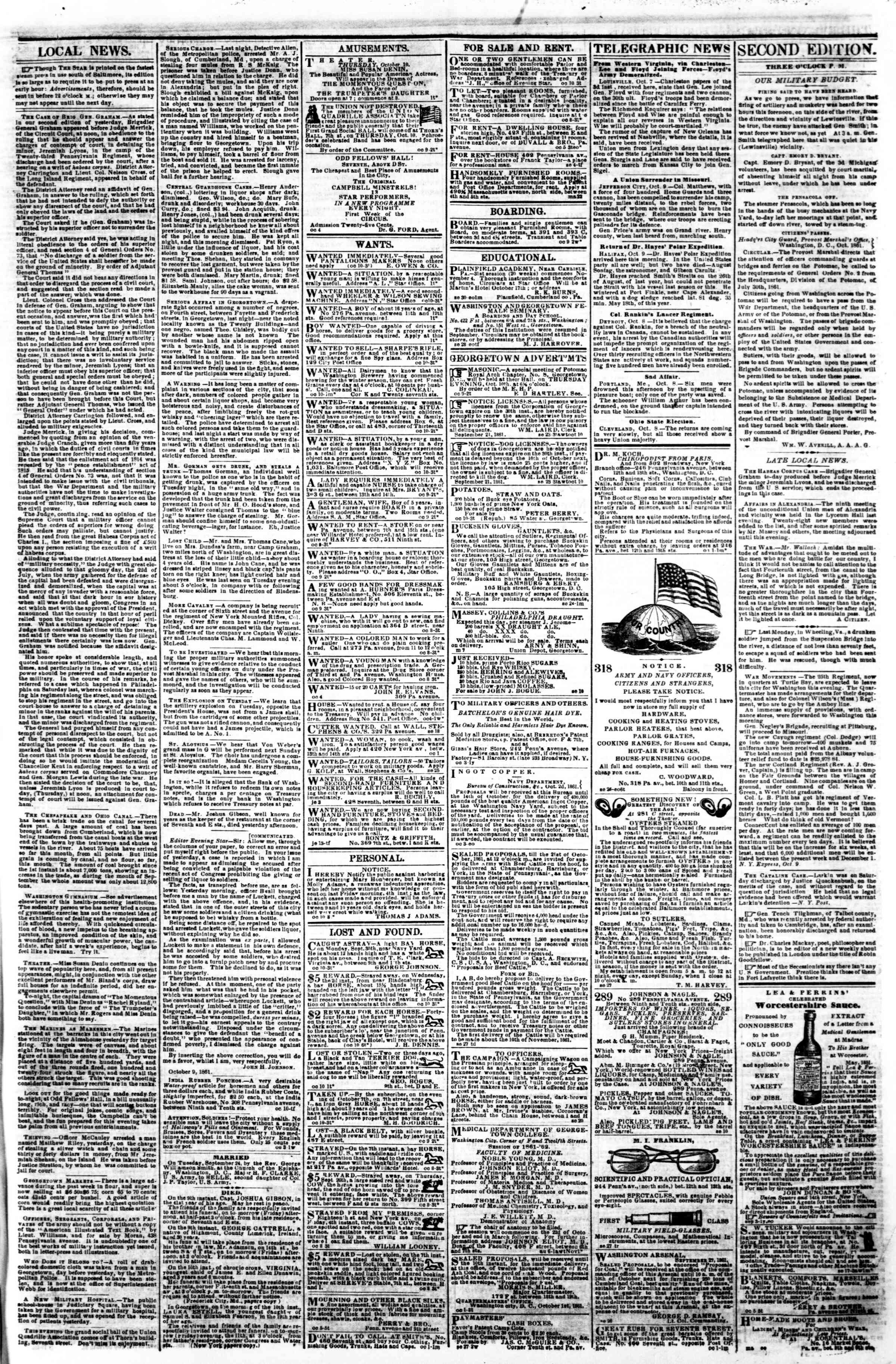 Newspaper of Evening Star dated October 10, 1861 Page 3