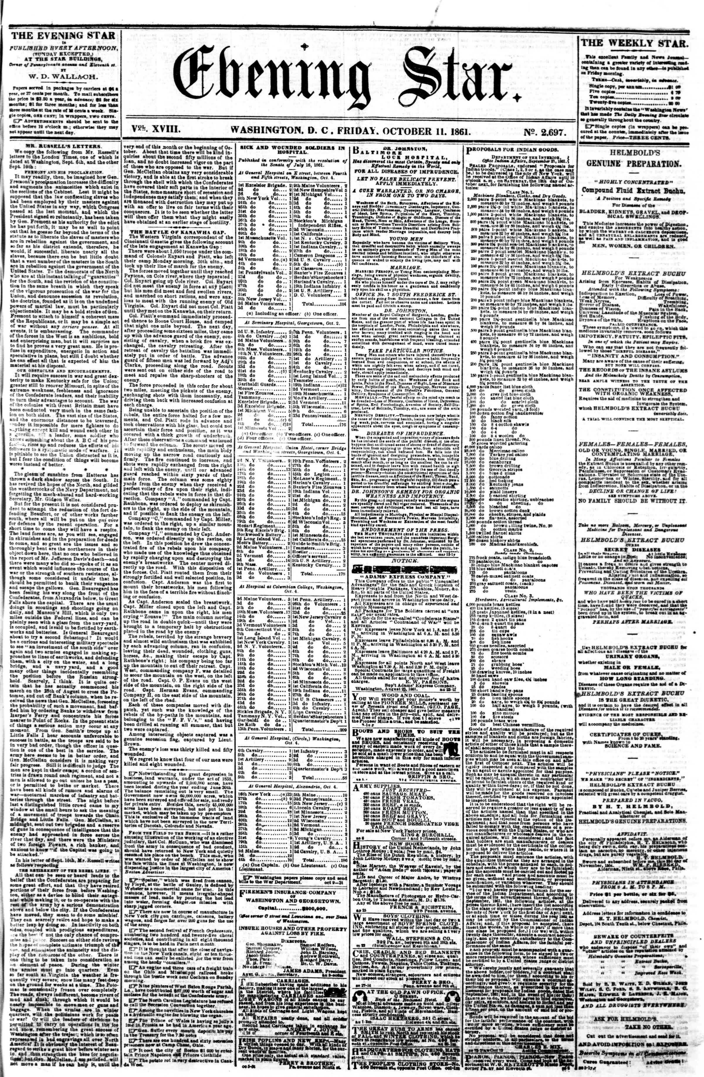 Newspaper of Evening Star dated October 11, 1861 Page 1