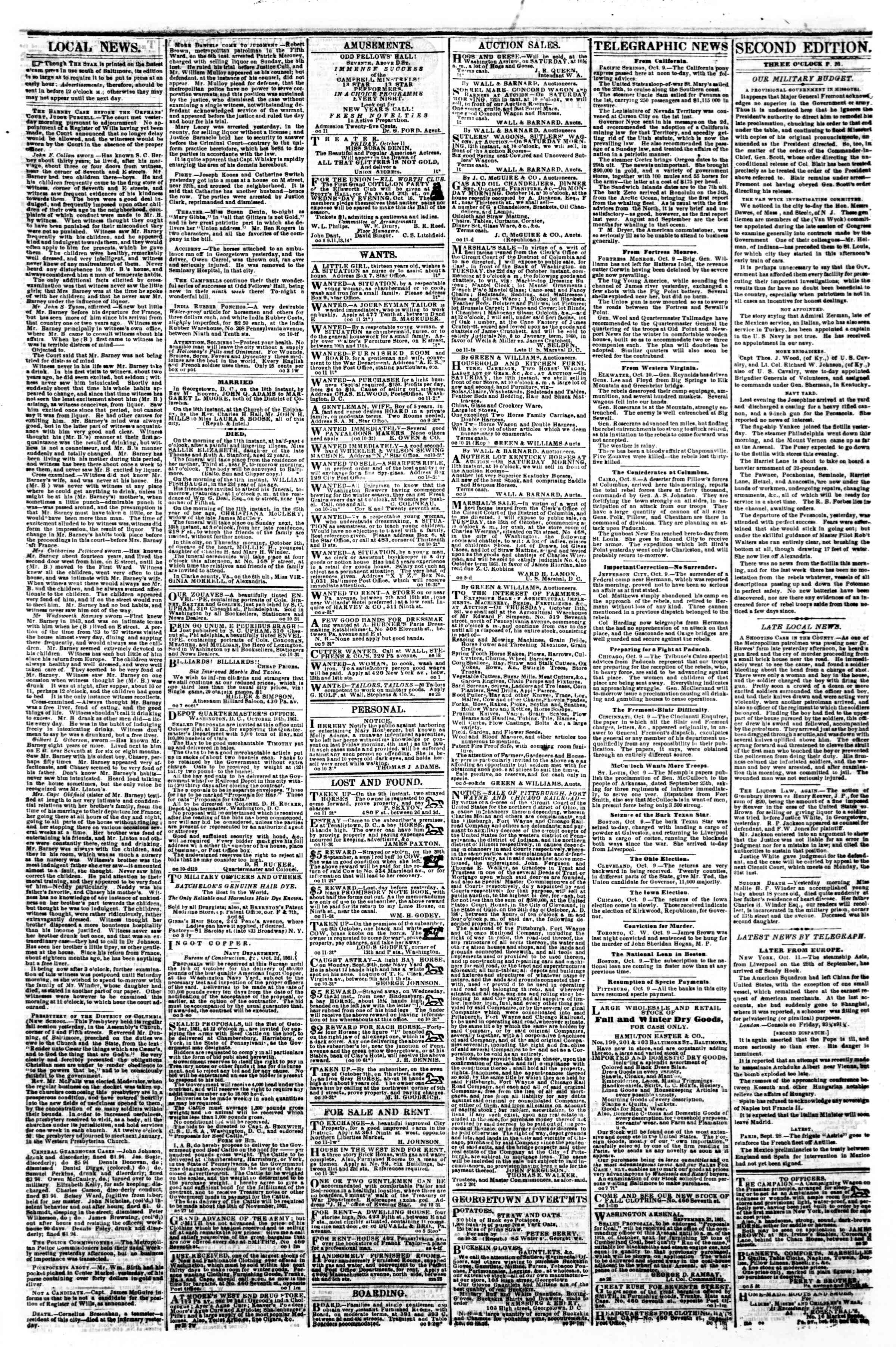 Newspaper of Evening Star dated October 11, 1861 Page 3