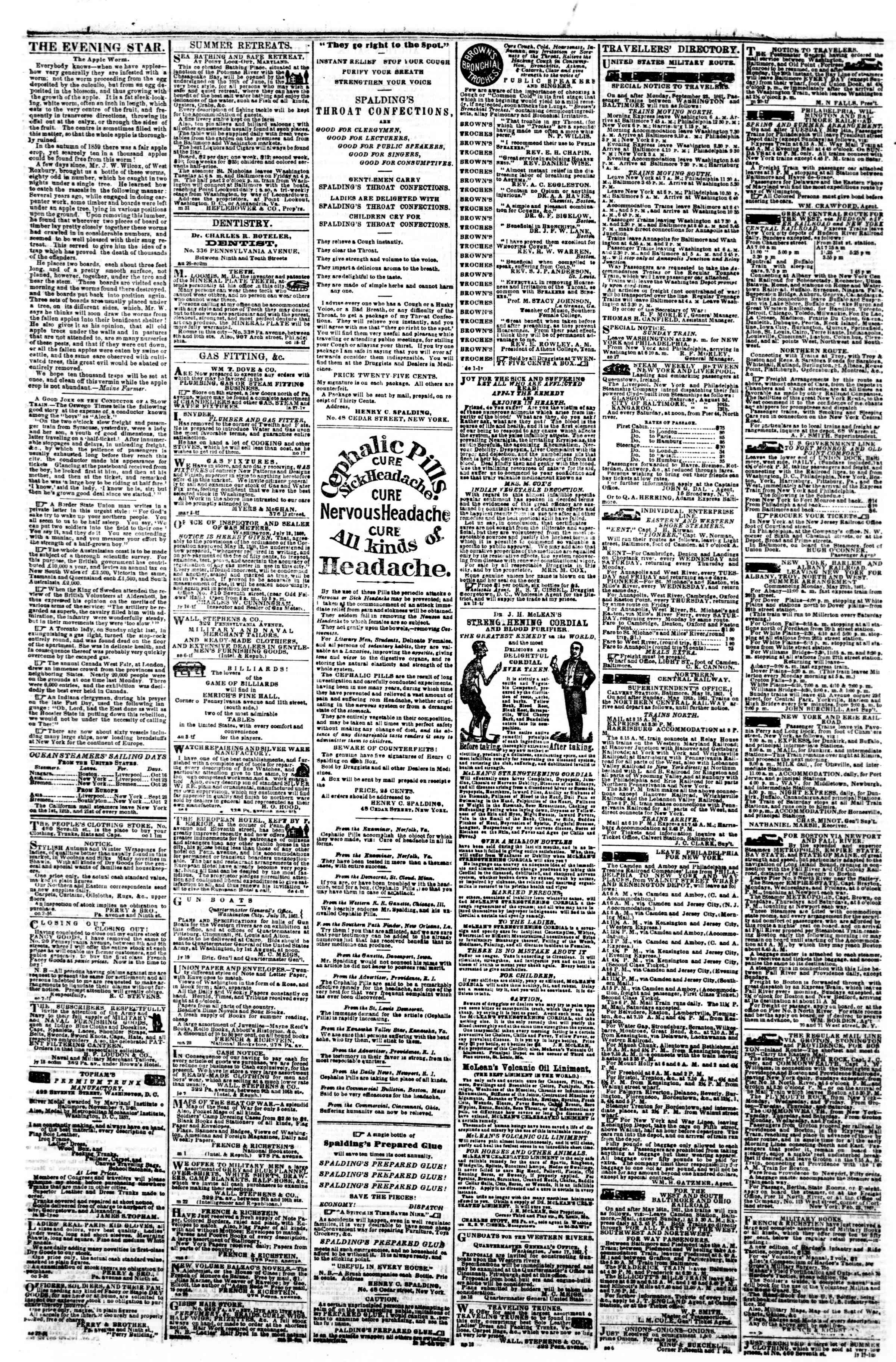Newspaper of Evening Star dated October 11, 1861 Page 4