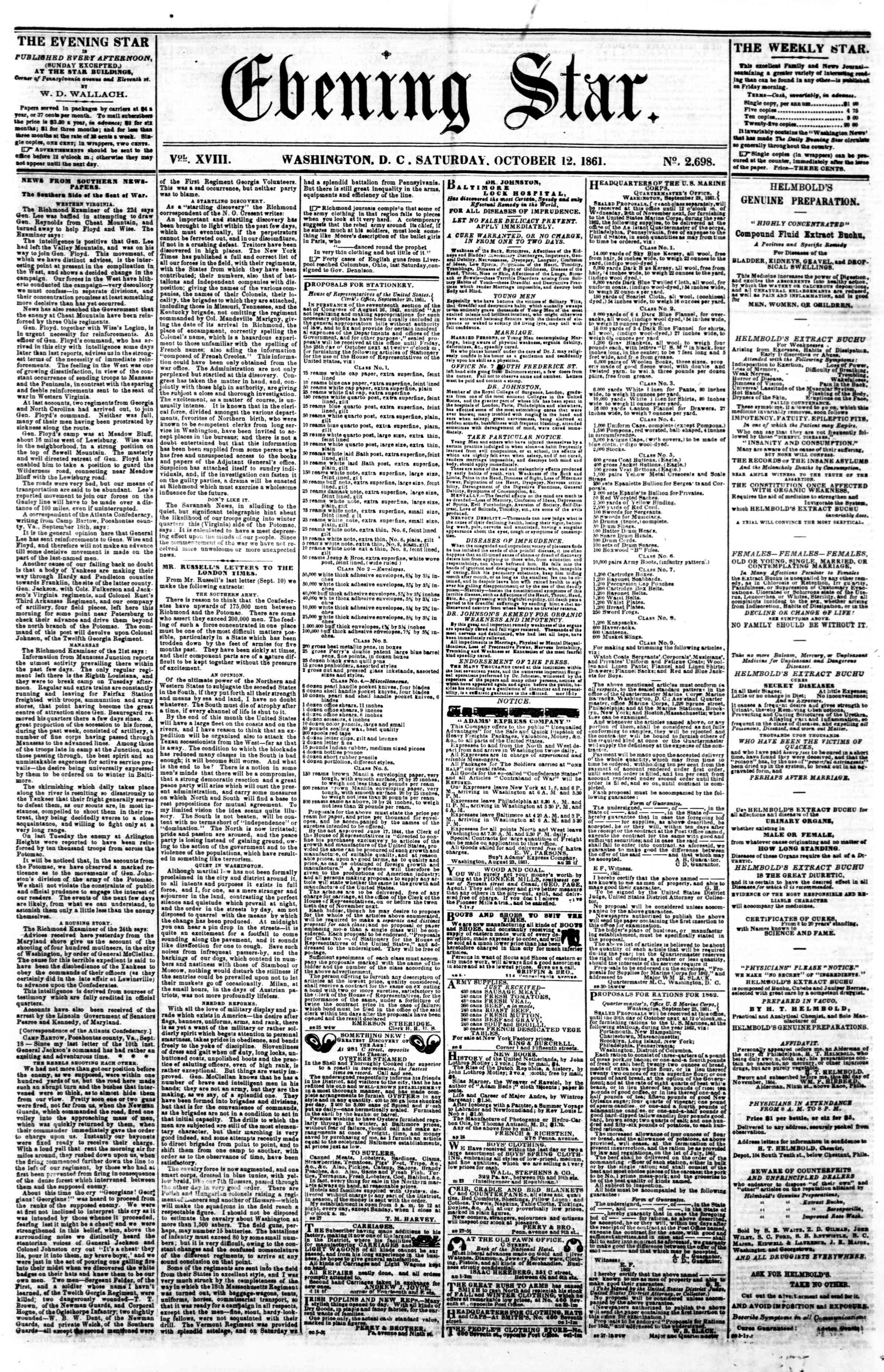 Newspaper of Evening Star dated October 12, 1861 Page 1