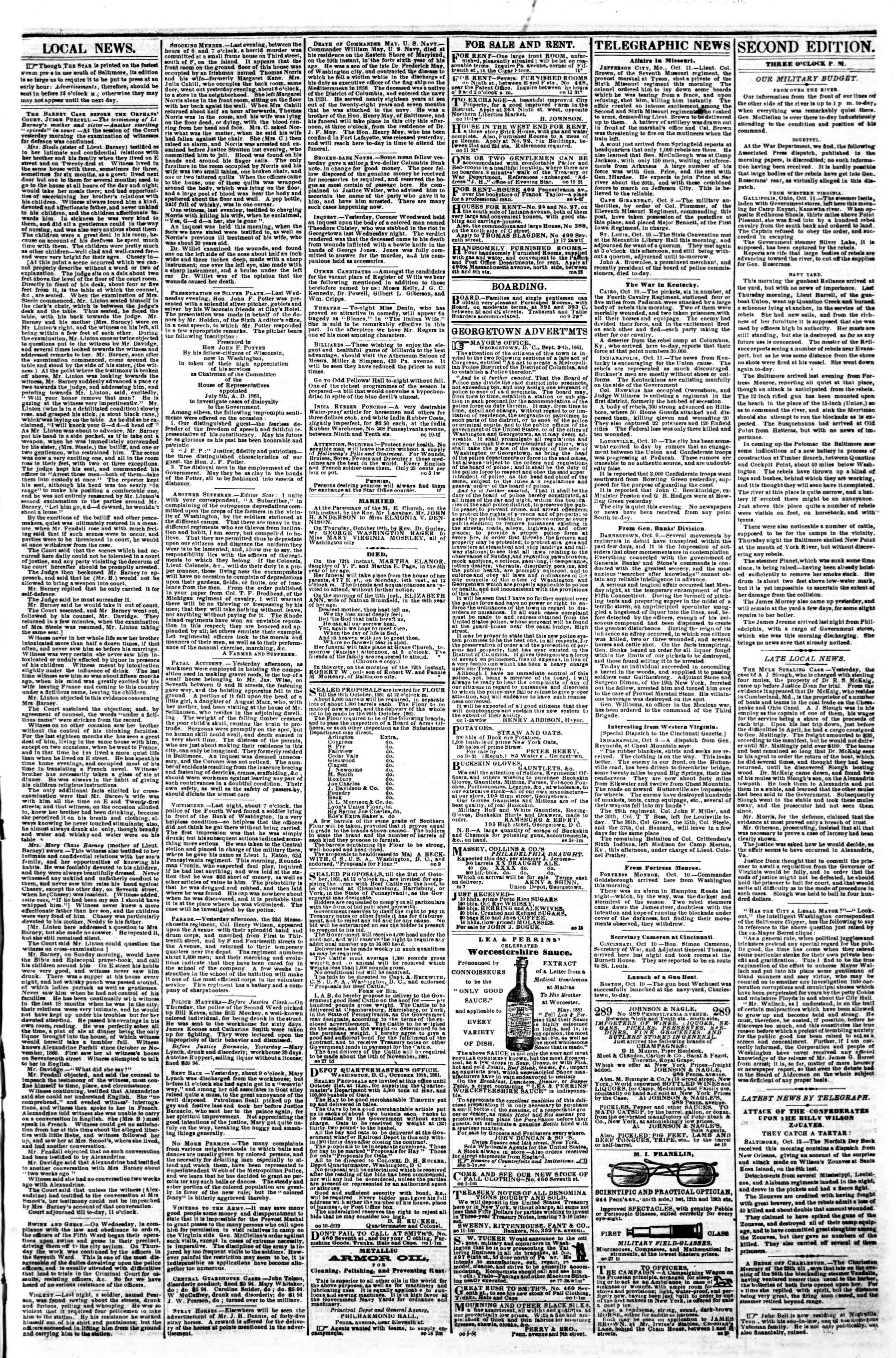 Newspaper of Evening Star dated October 12, 1861 Page 3