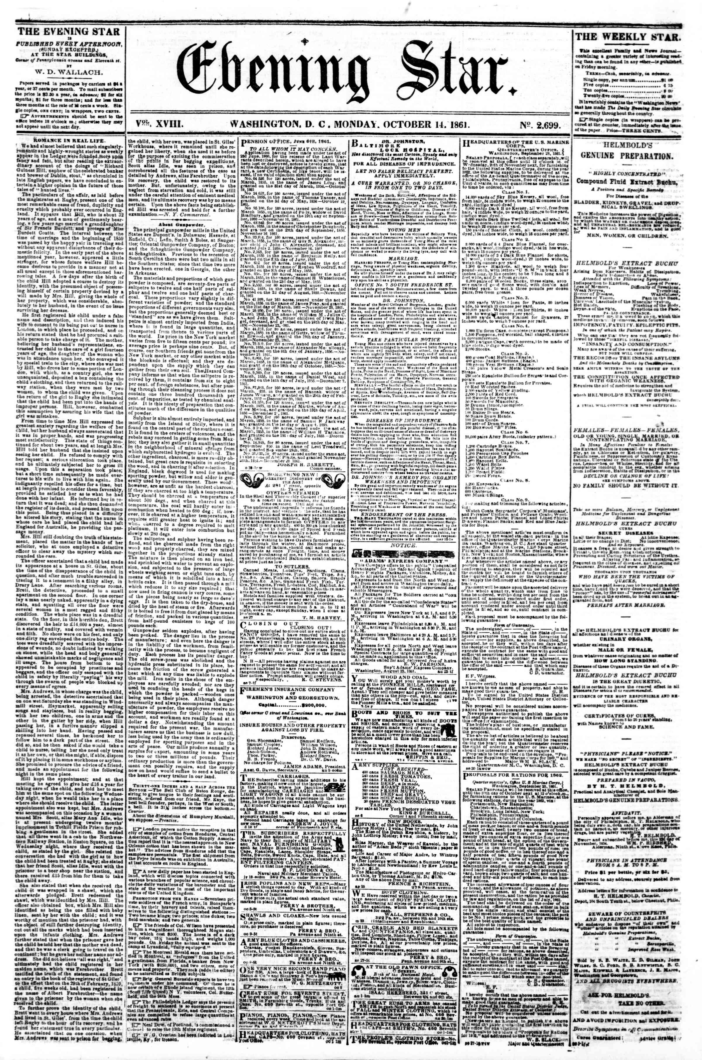Newspaper of Evening Star dated October 14, 1861 Page 1