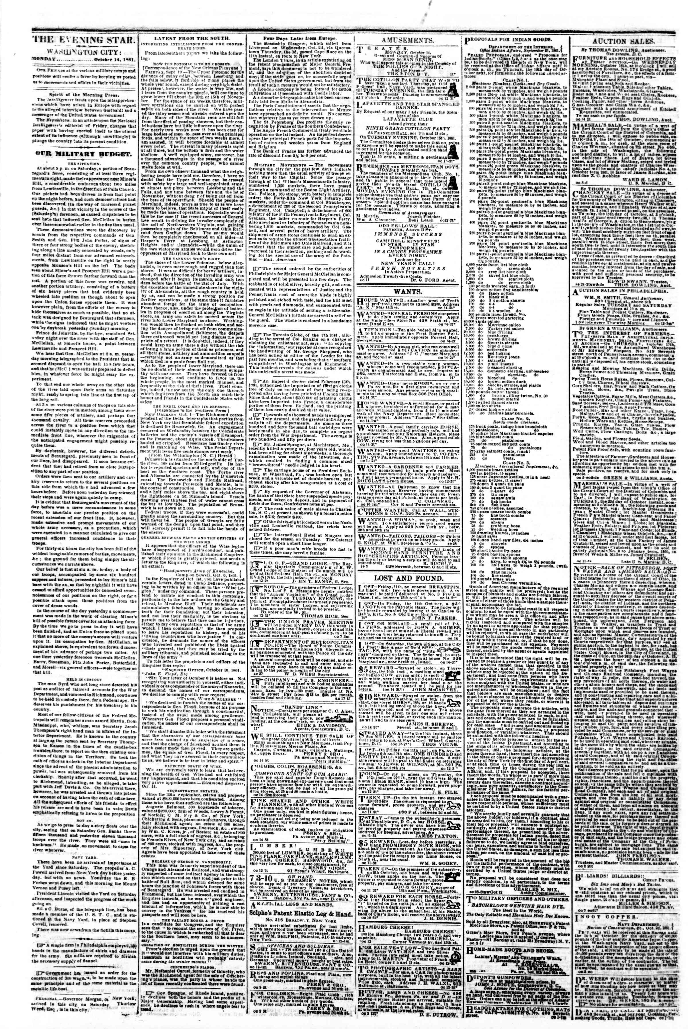 Newspaper of Evening Star dated October 14, 1861 Page 2