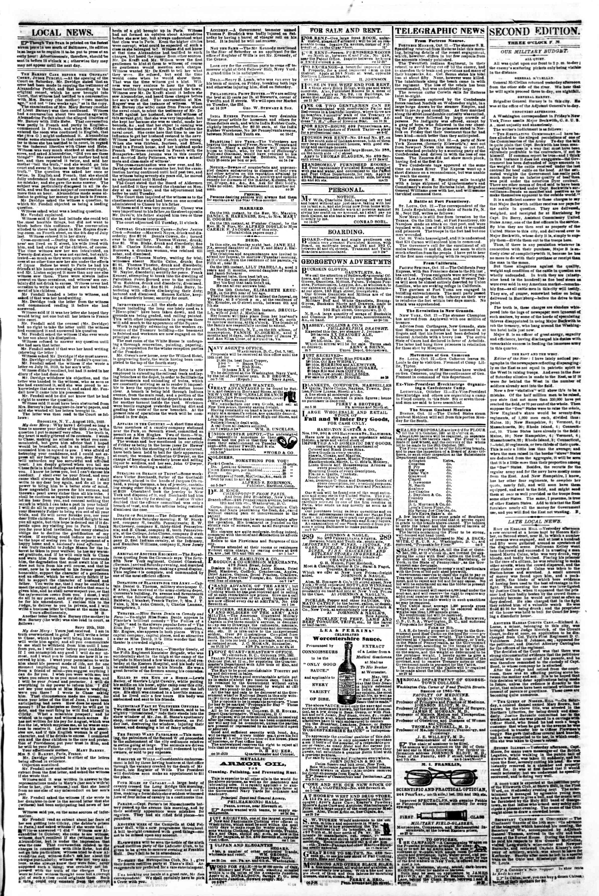 Newspaper of Evening Star dated October 14, 1861 Page 3