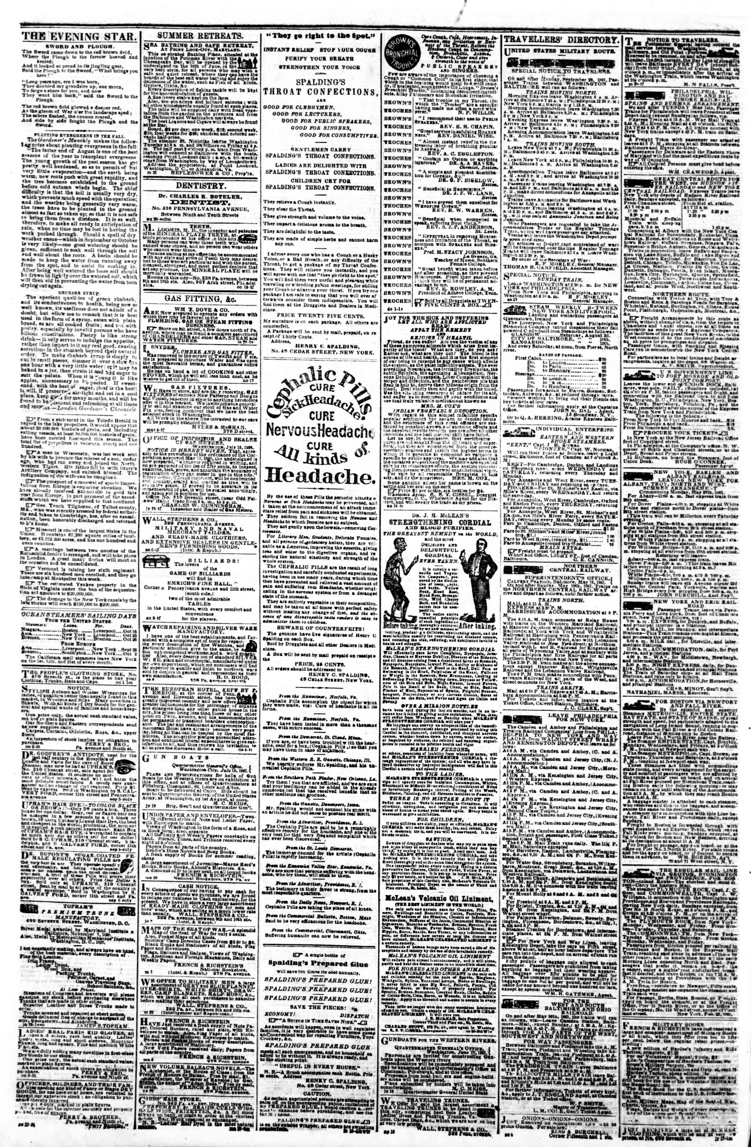 Newspaper of Evening Star dated October 14, 1861 Page 4
