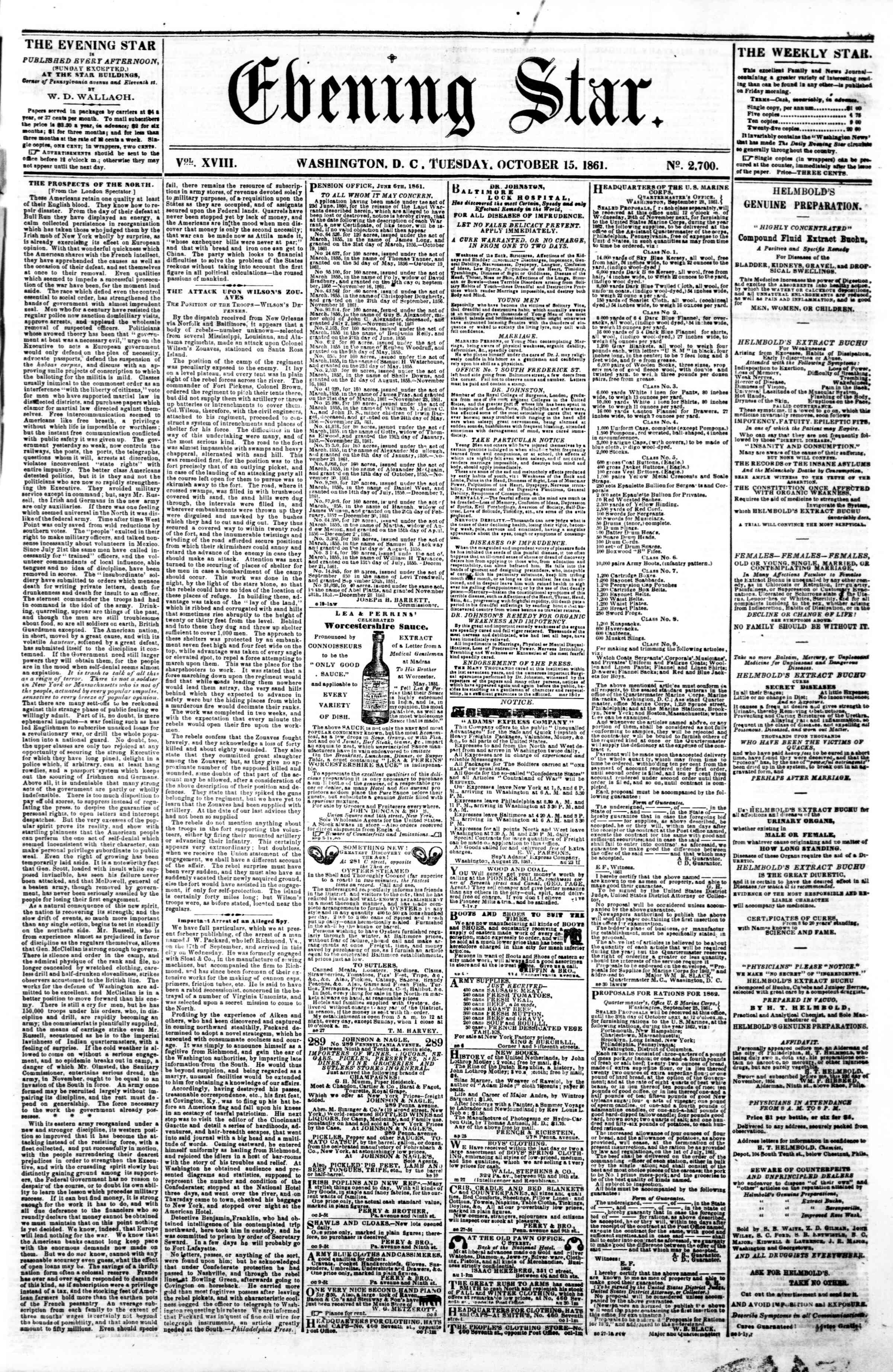 Newspaper of Evening Star dated October 15, 1861 Page 1