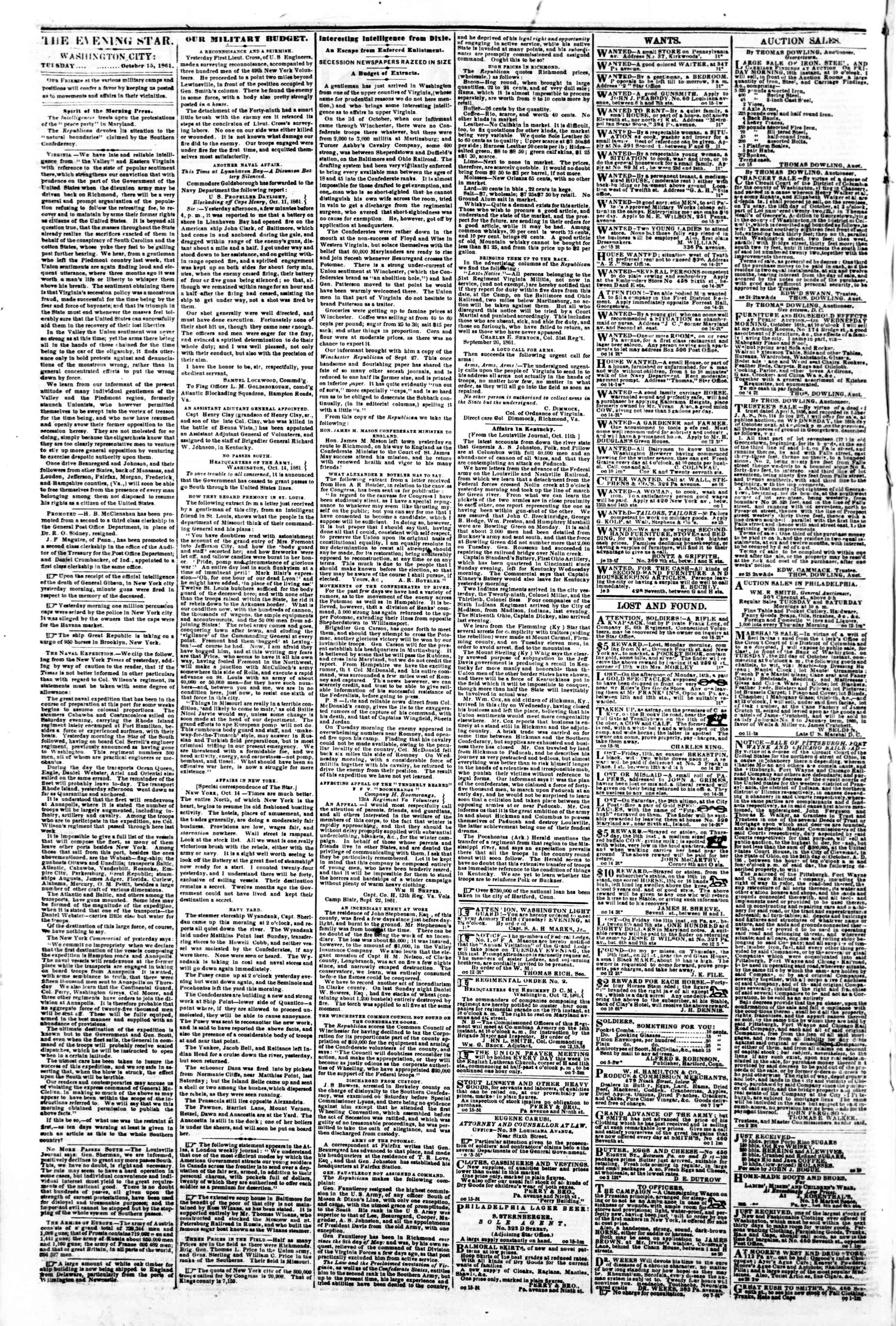 Newspaper of Evening Star dated October 15, 1861 Page 2