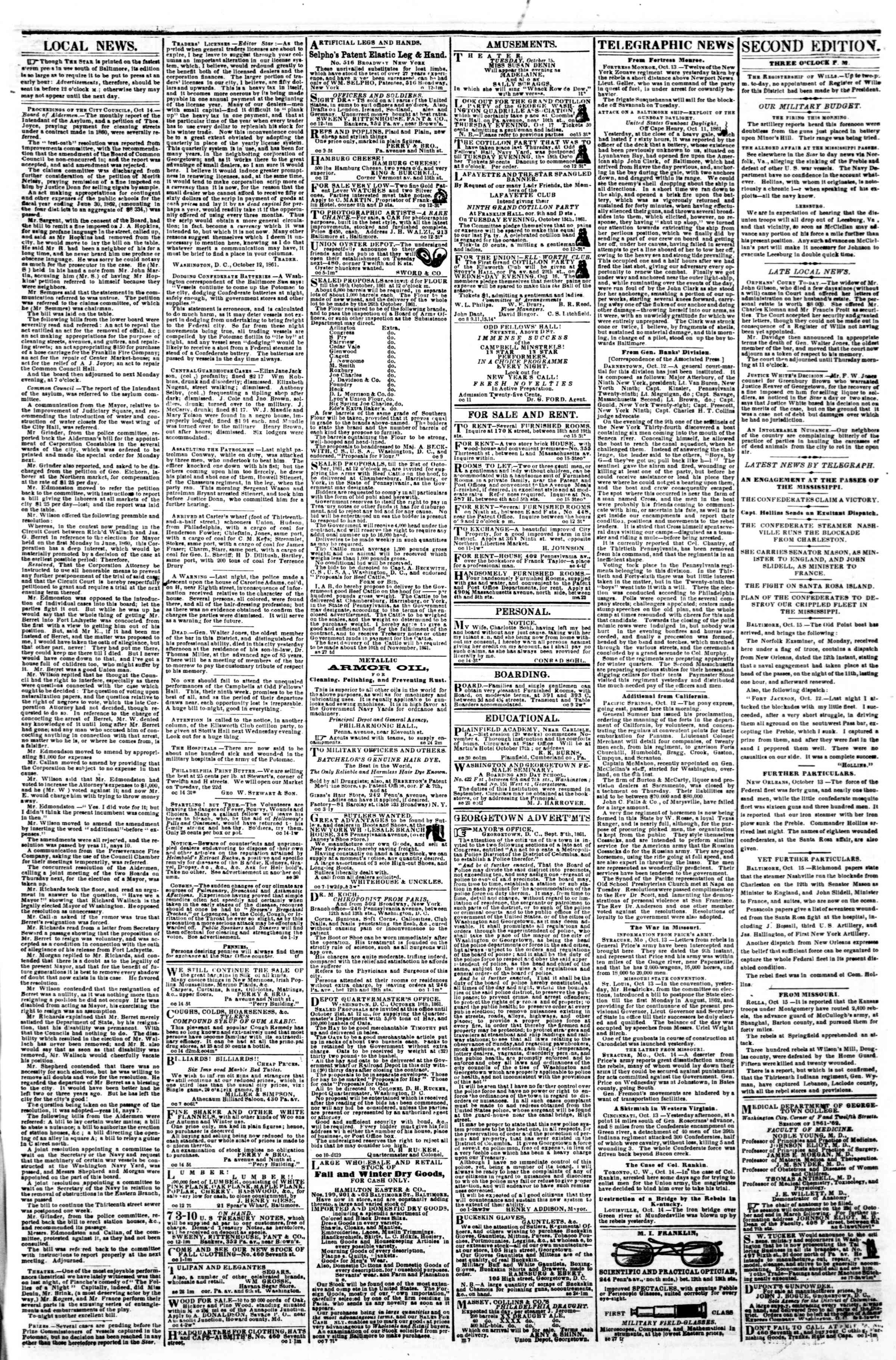 Newspaper of Evening Star dated October 15, 1861 Page 3