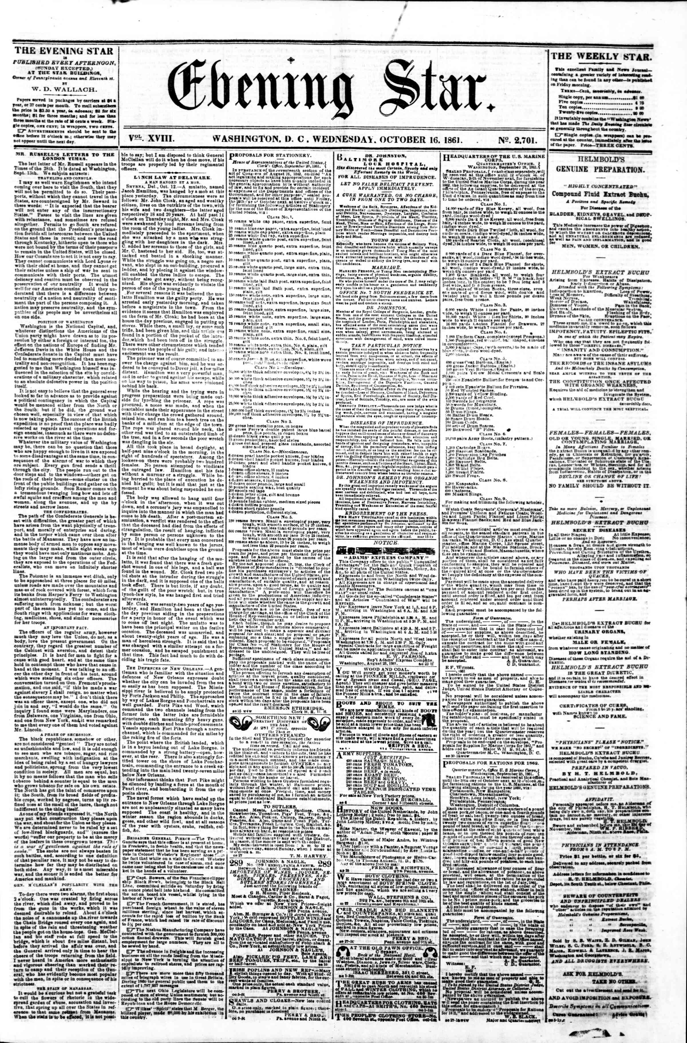 Newspaper of Evening Star dated October 16, 1861 Page 1