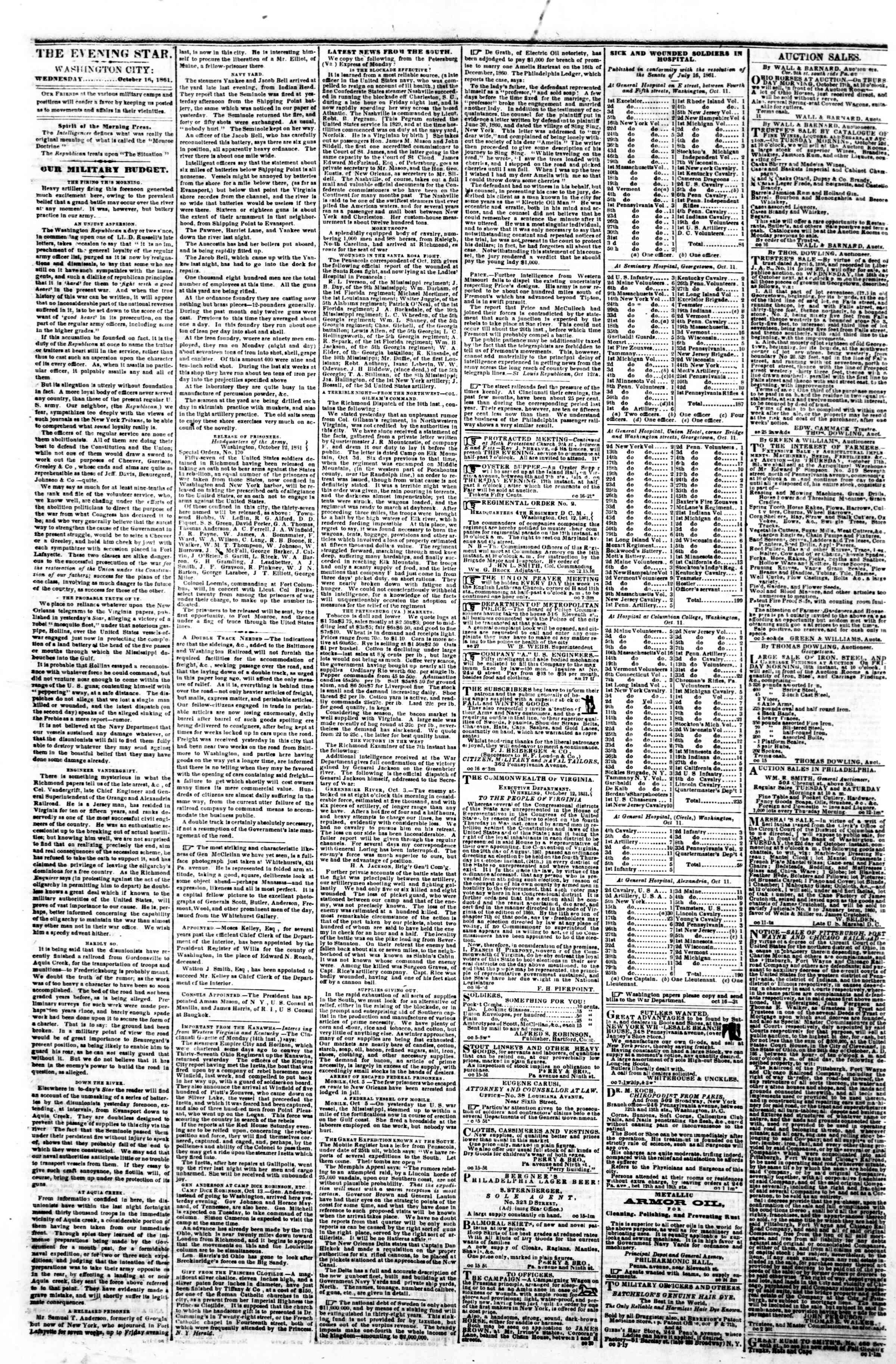 Newspaper of Evening Star dated October 16, 1861 Page 2