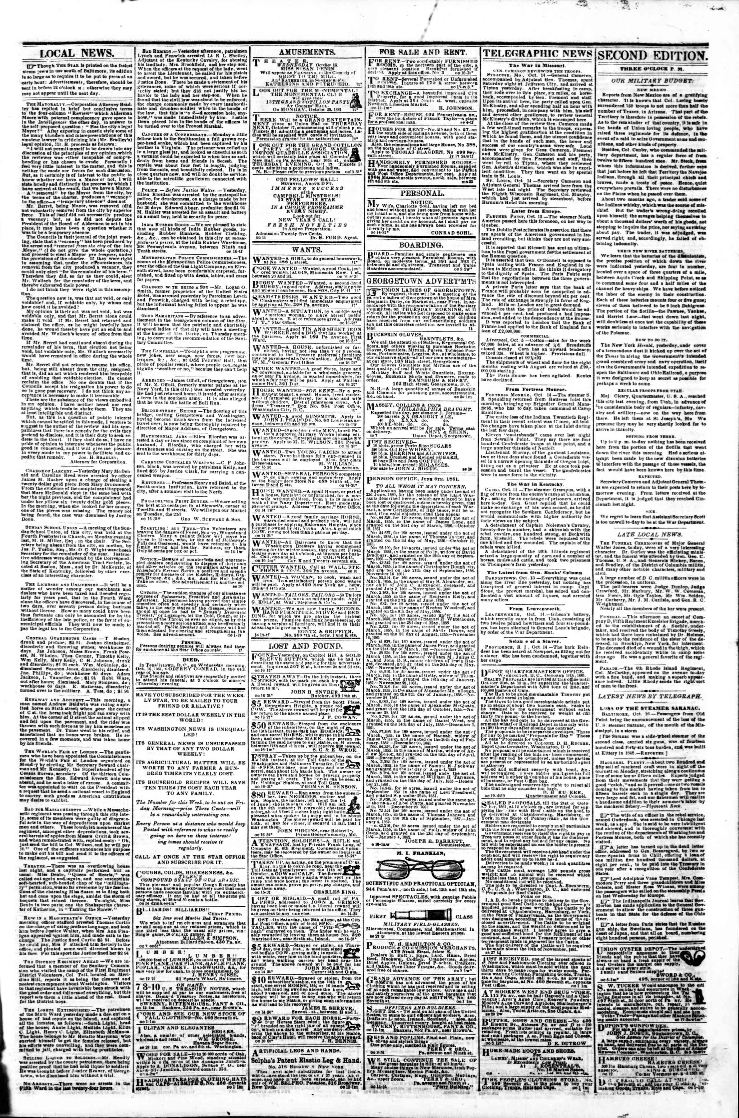 16 Ekim 1861 tarihli Evening Star Gazetesi Sayfa 3