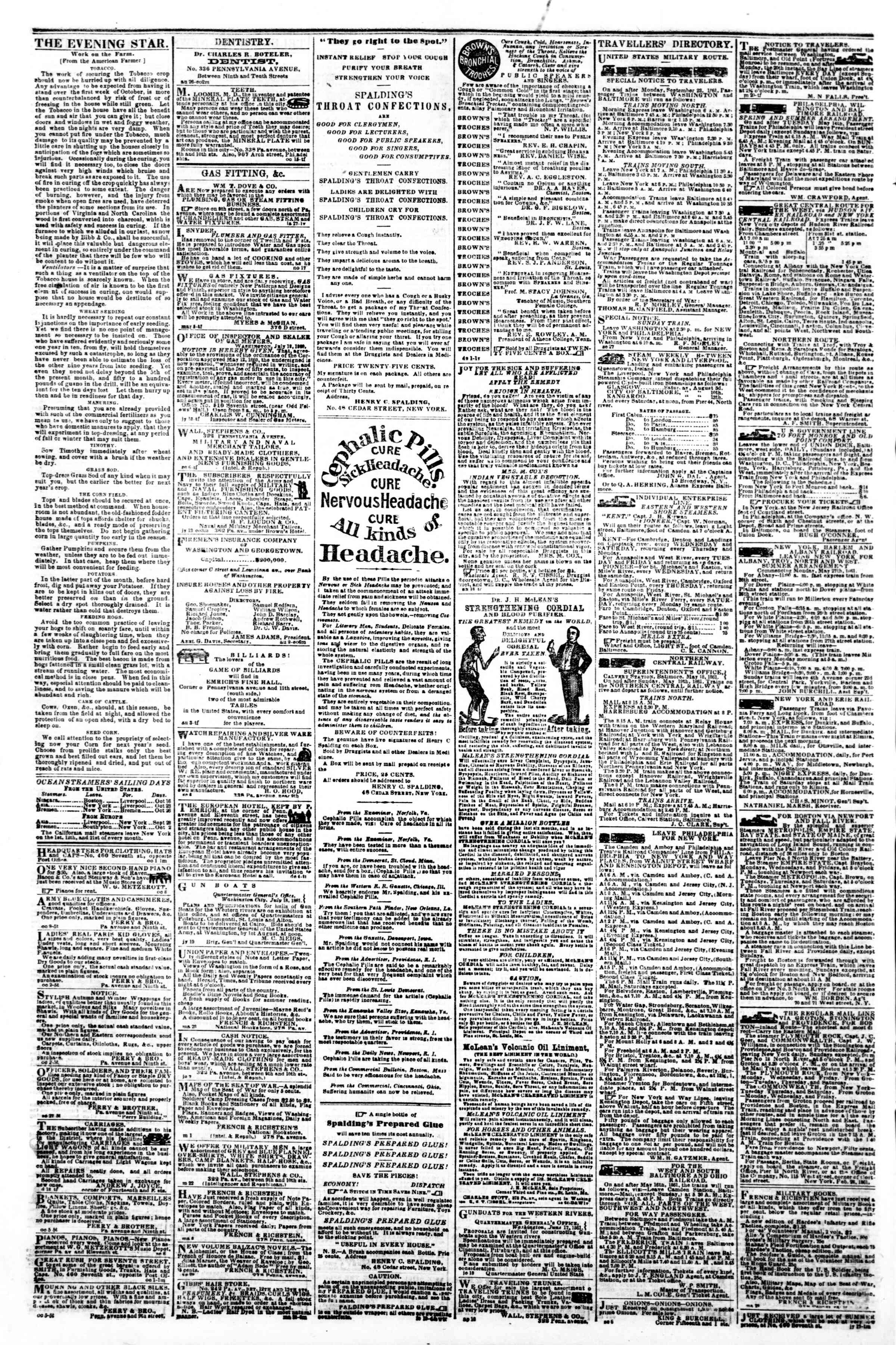 Newspaper of Evening Star dated October 16, 1861 Page 4