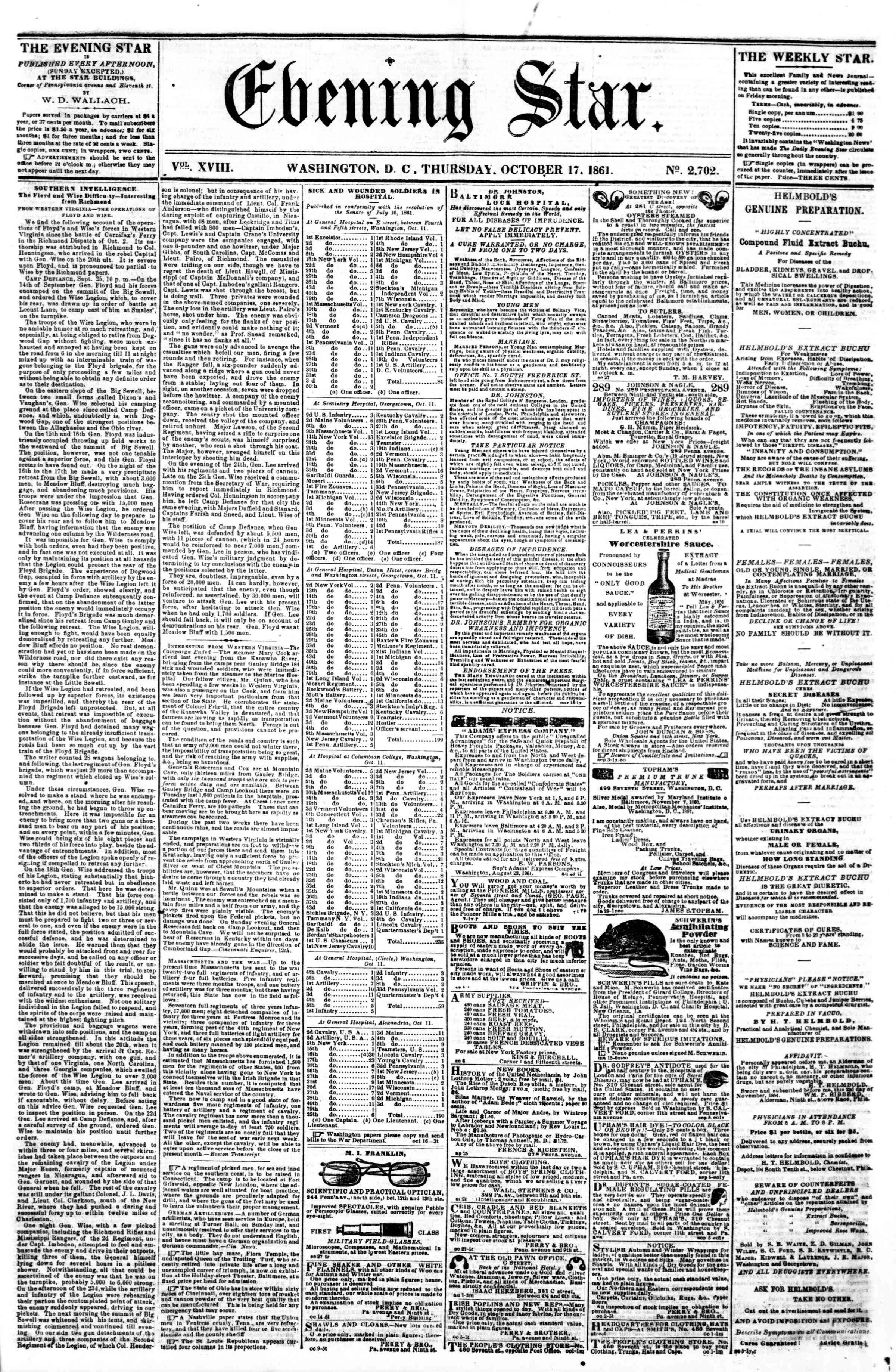 Newspaper of Evening Star dated October 17, 1861 Page 1