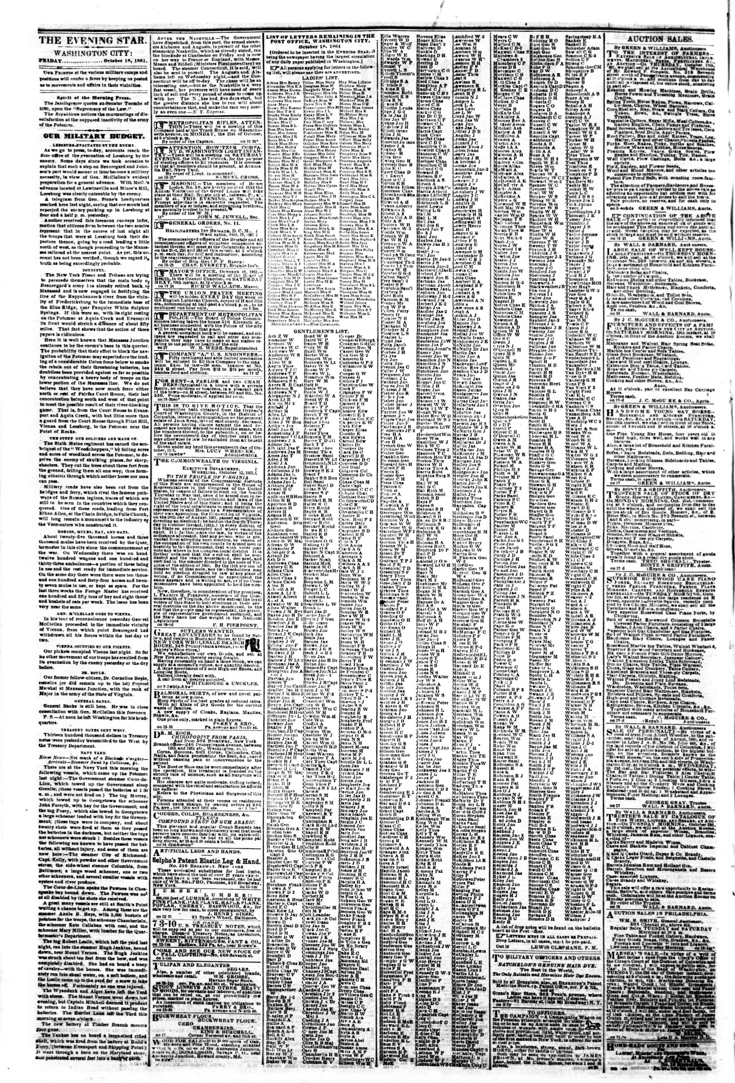 Newspaper of Evening Star dated October 18, 1861 Page 2