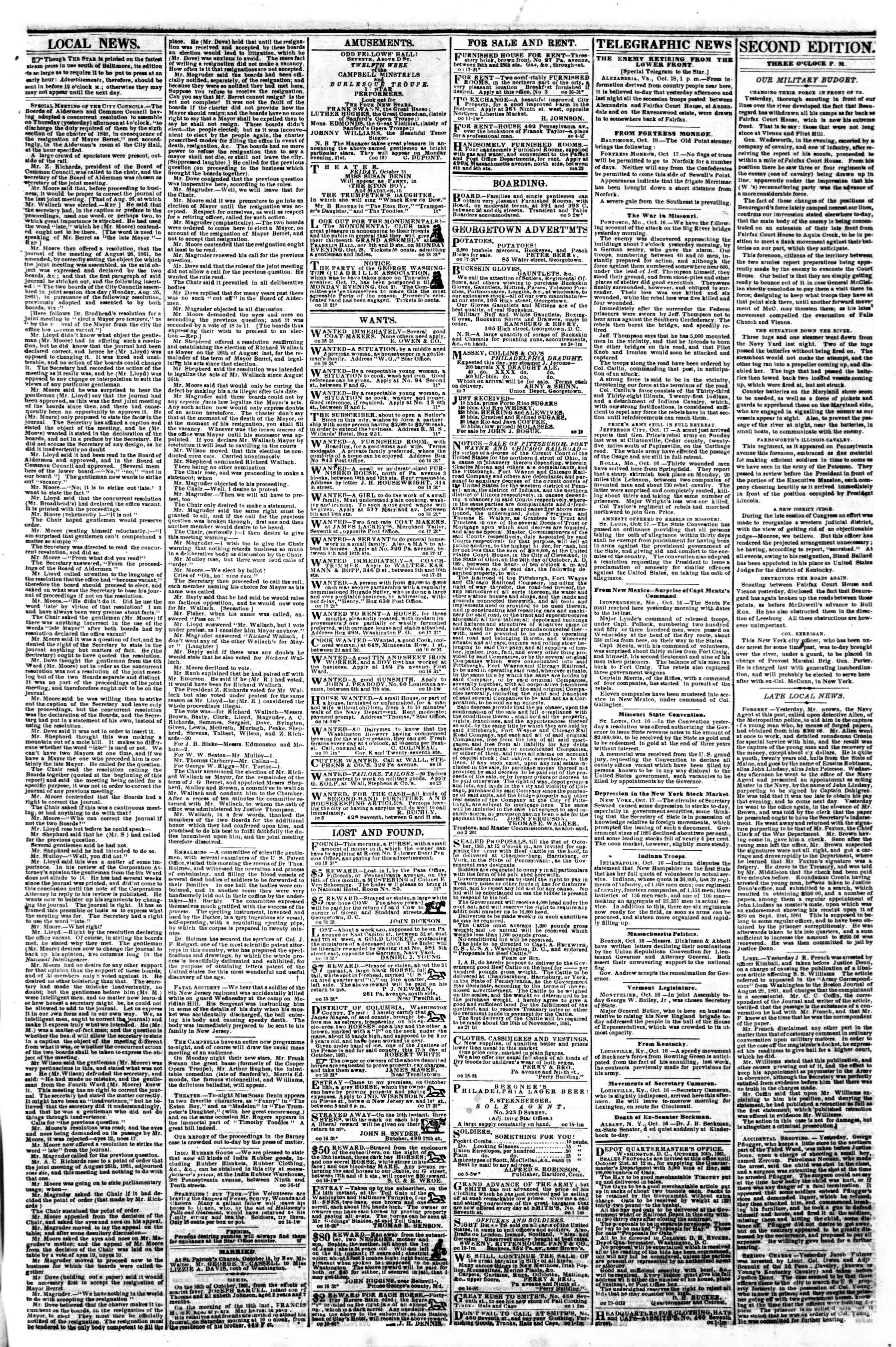 Newspaper of Evening Star dated October 18, 1861 Page 3