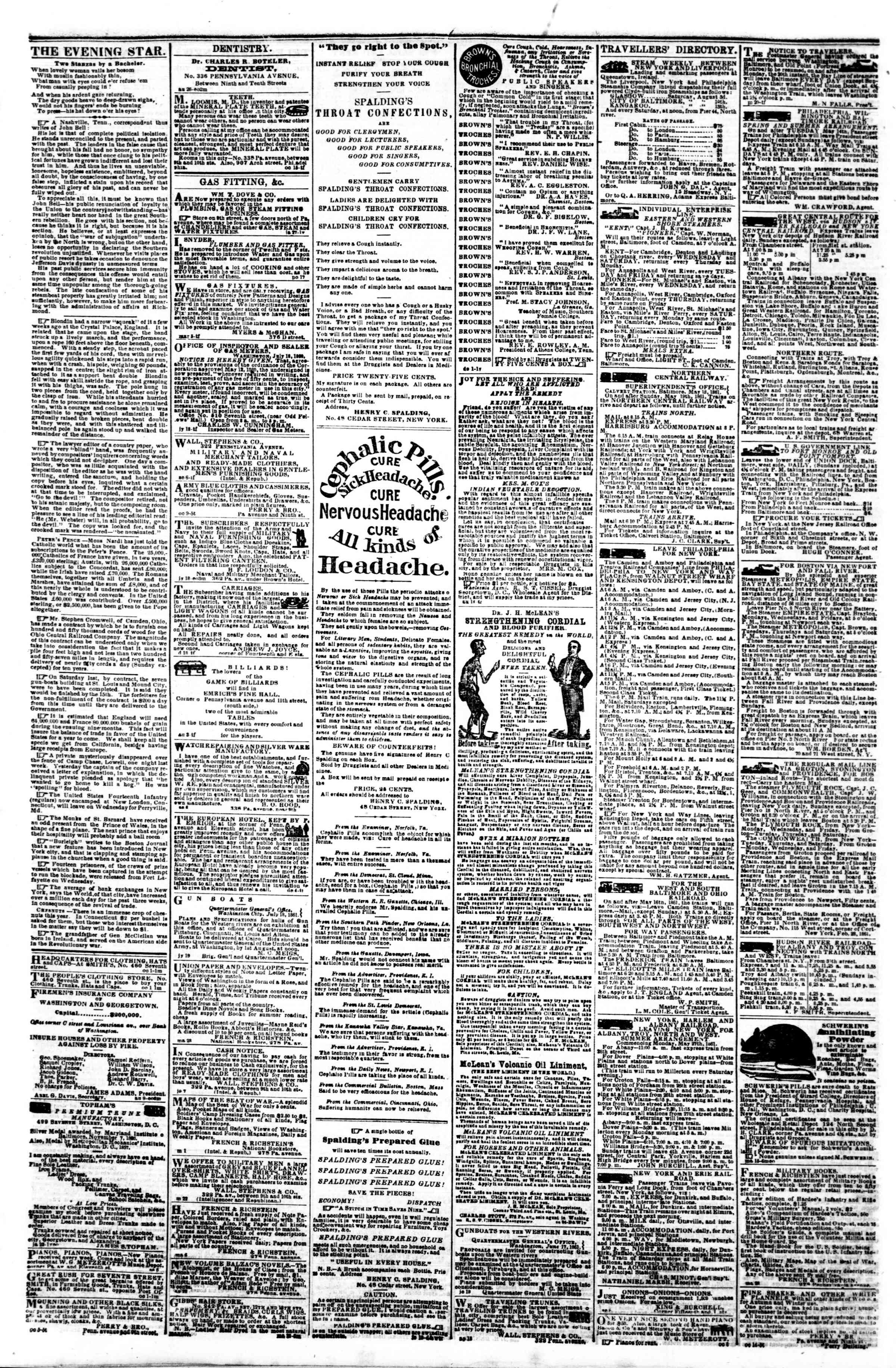 Newspaper of Evening Star dated October 18, 1861 Page 4