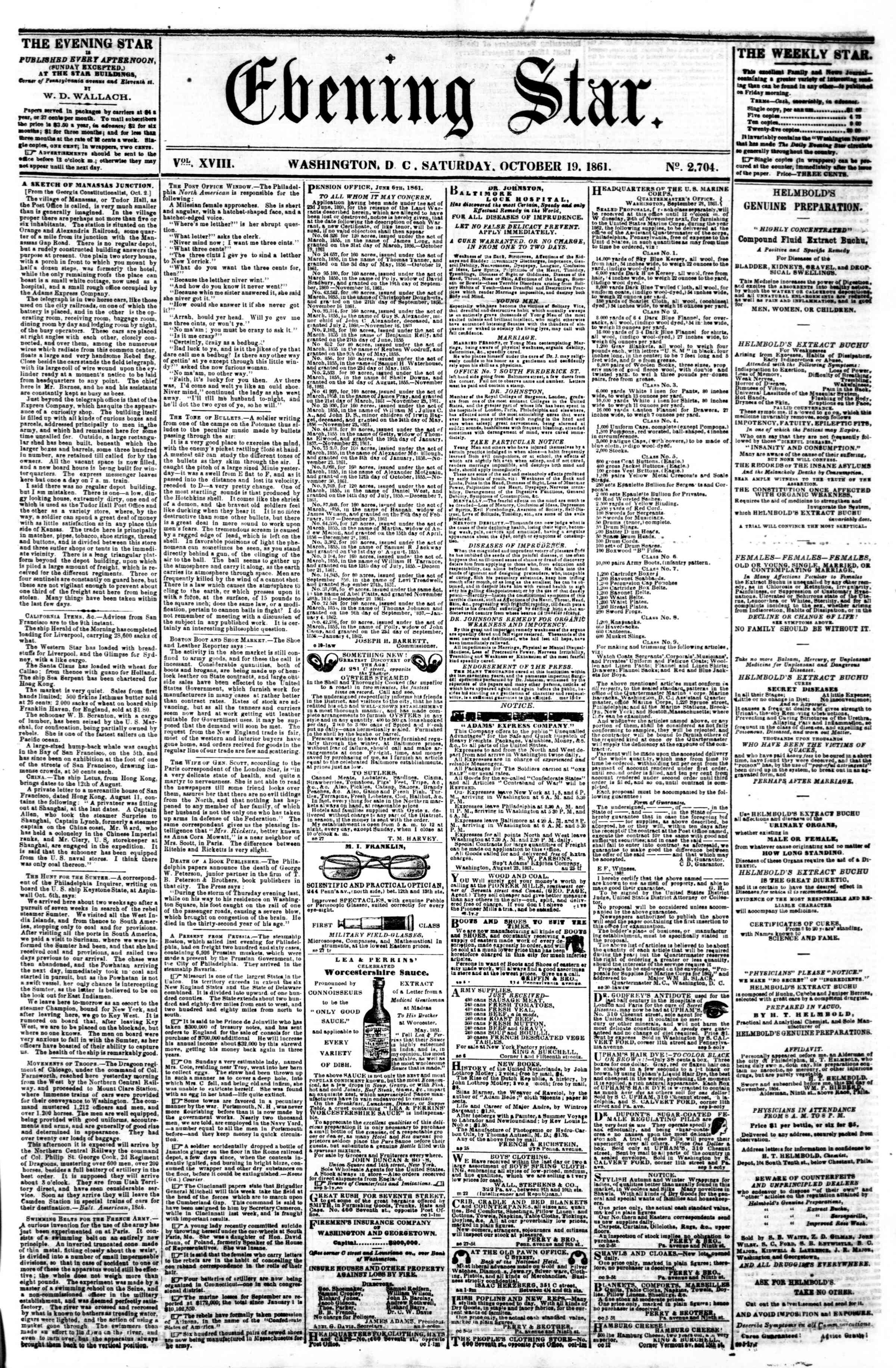 Newspaper of Evening Star dated October 19, 1861 Page 1