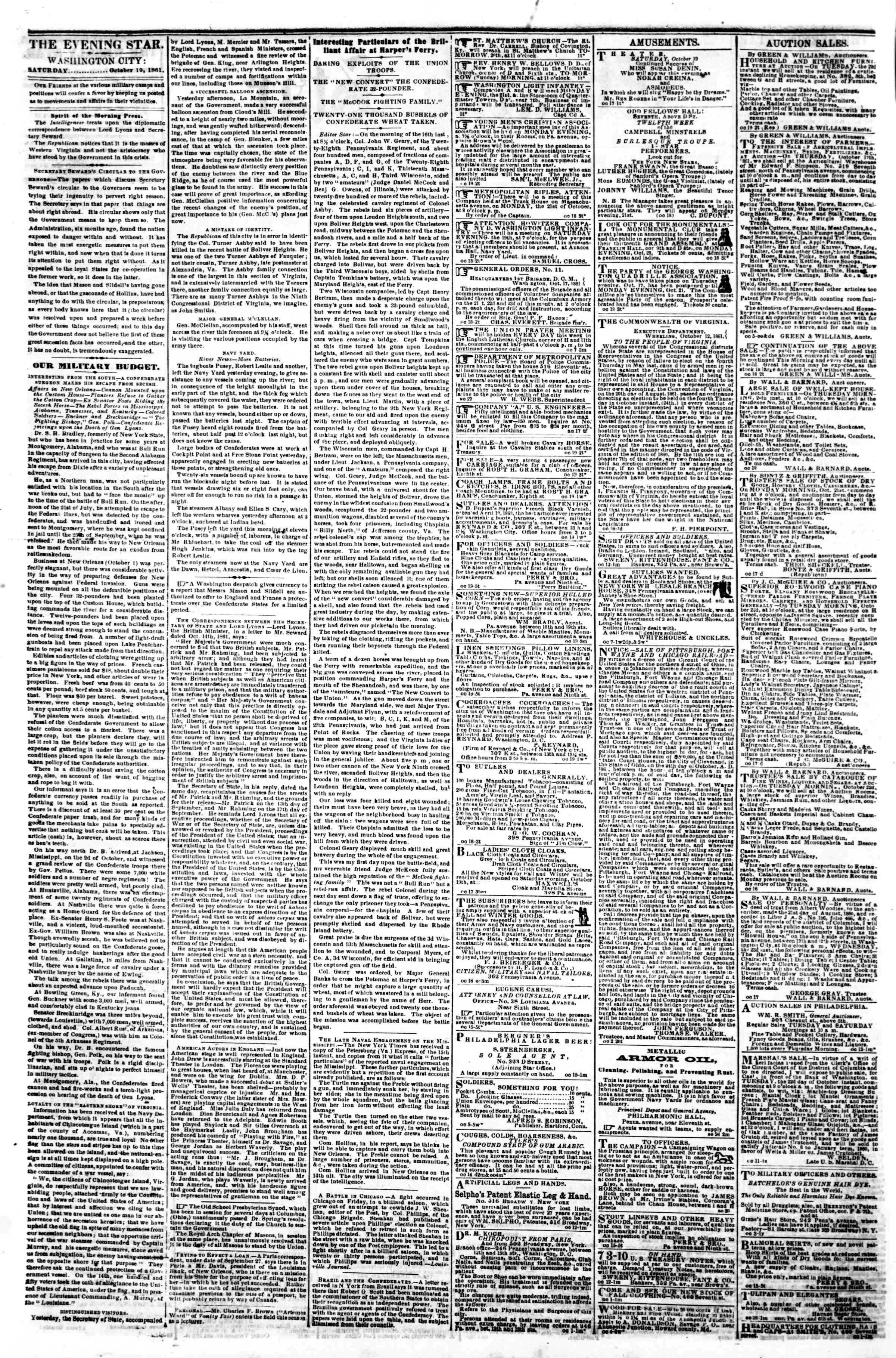 Newspaper of Evening Star dated October 19, 1861 Page 2