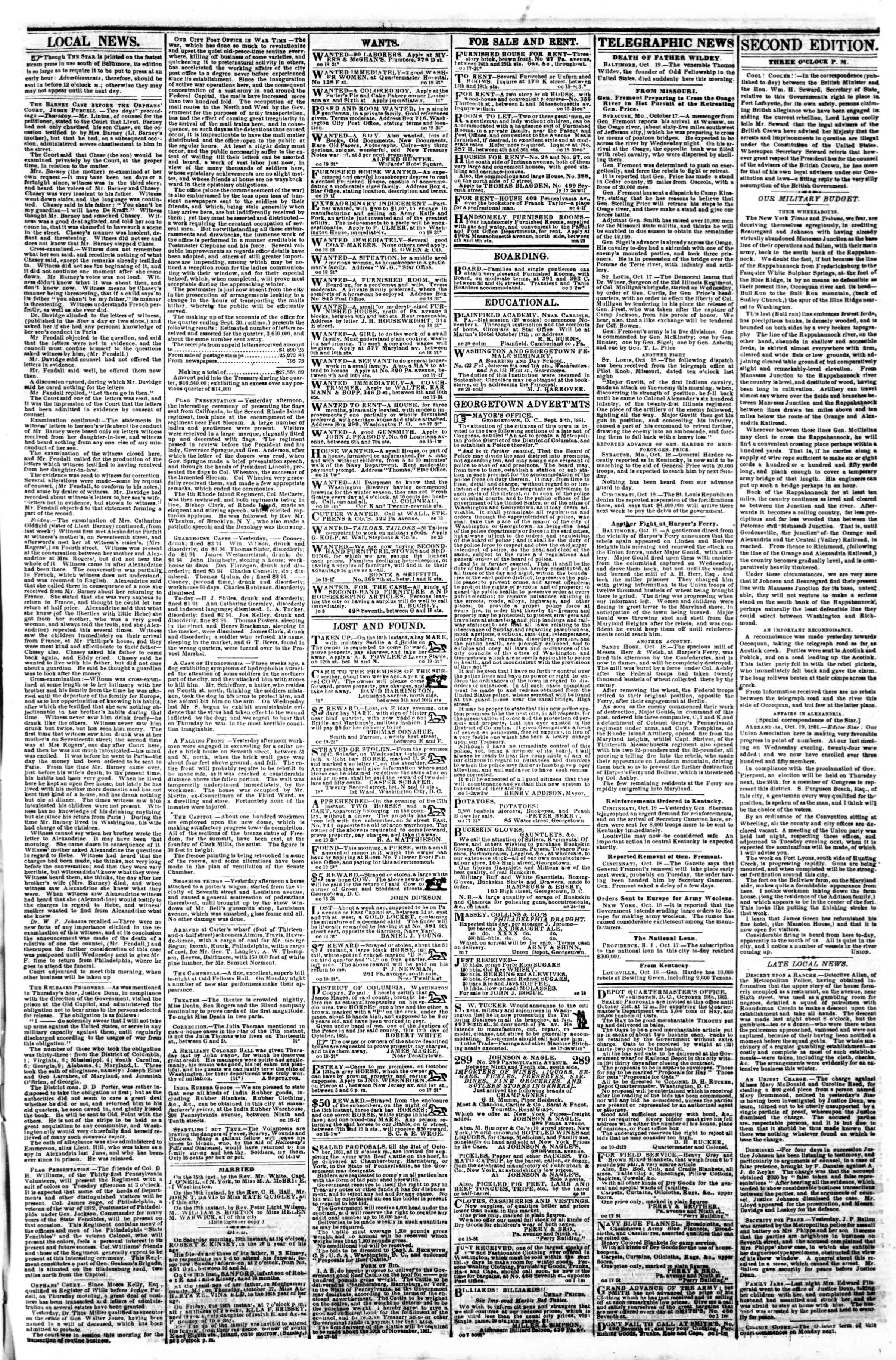 Newspaper of Evening Star dated October 19, 1861 Page 3