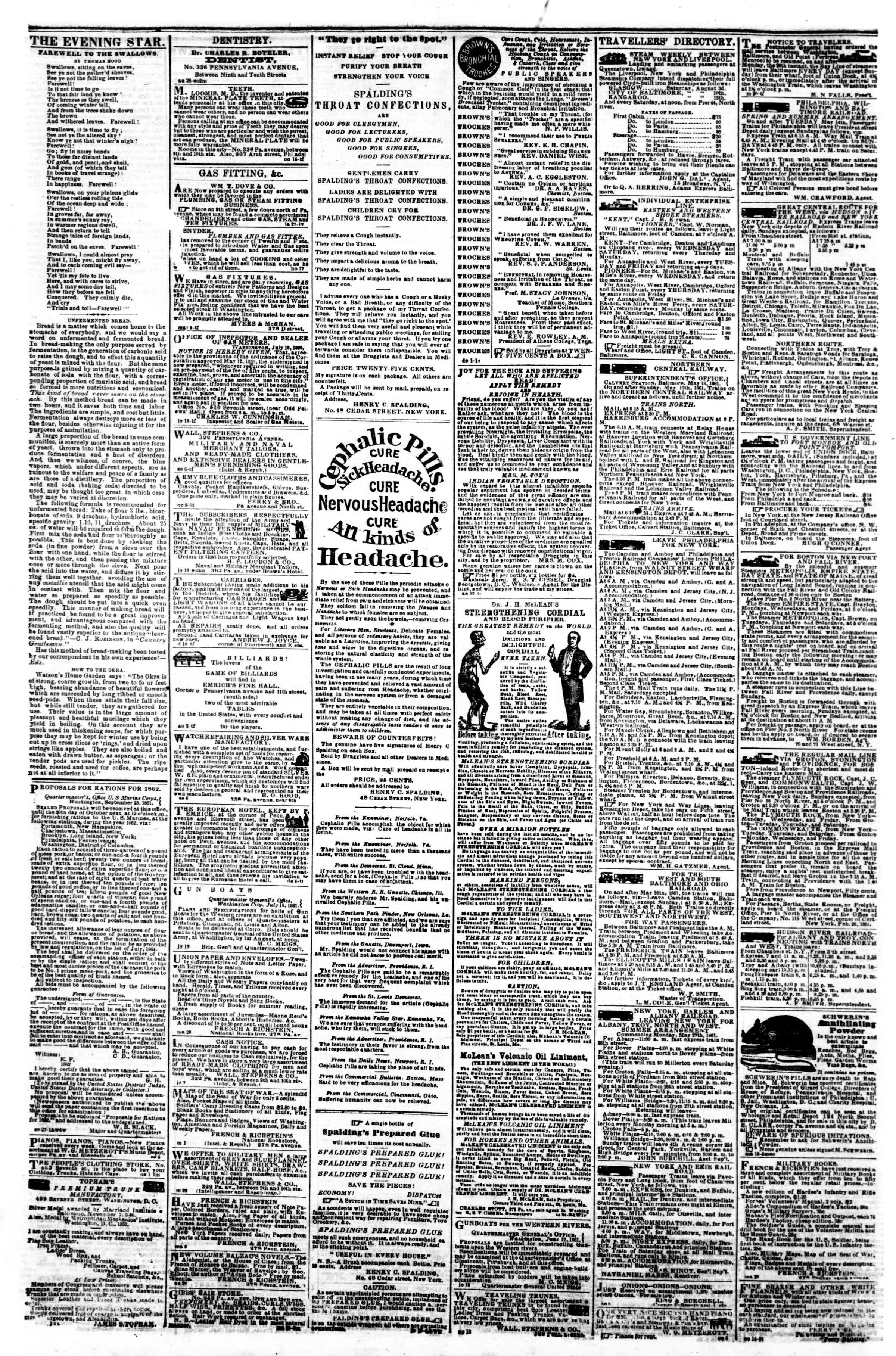 Newspaper of Evening Star dated October 19, 1861 Page 4