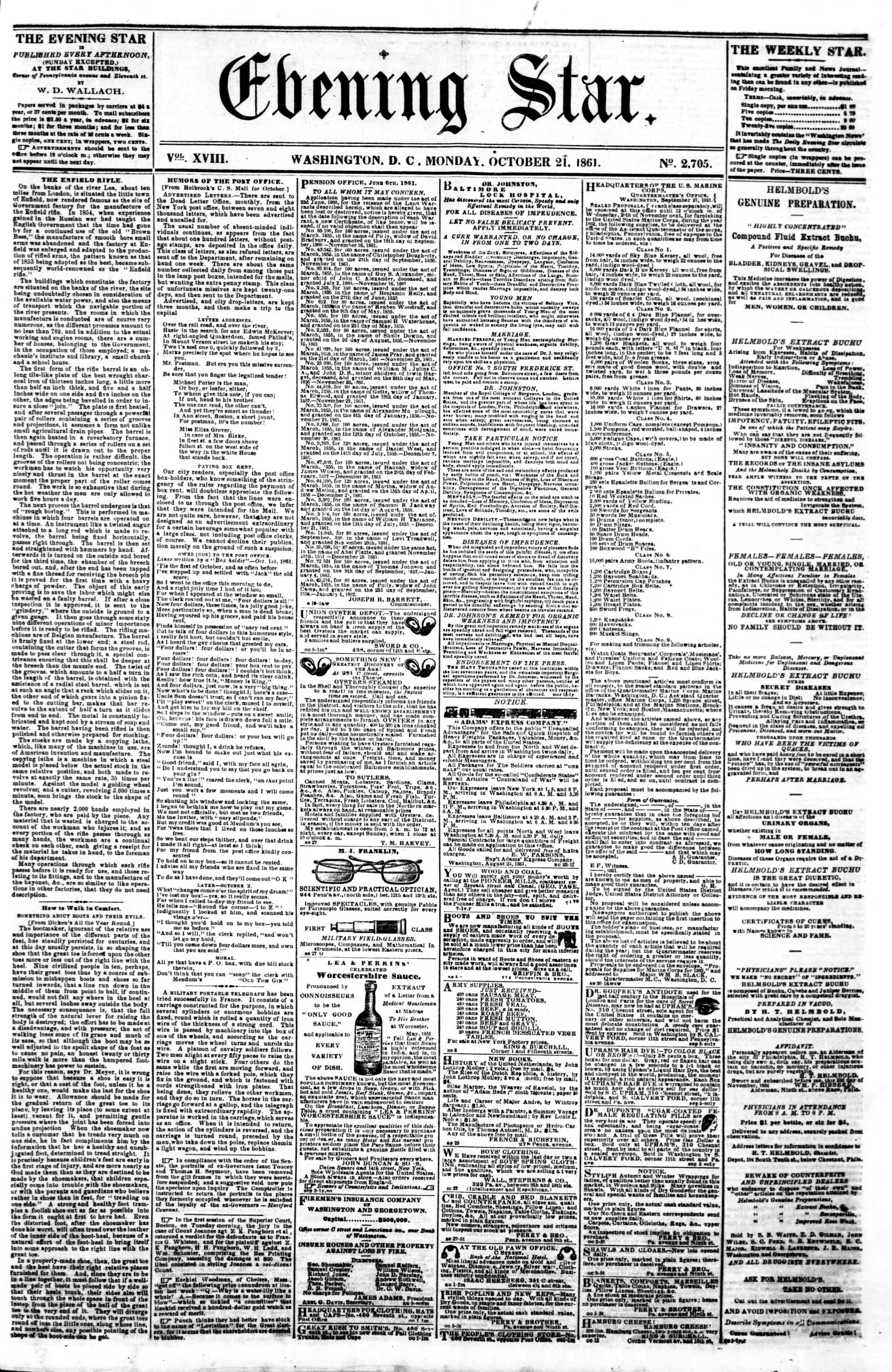 Newspaper of Evening Star dated October 21, 1861 Page 1