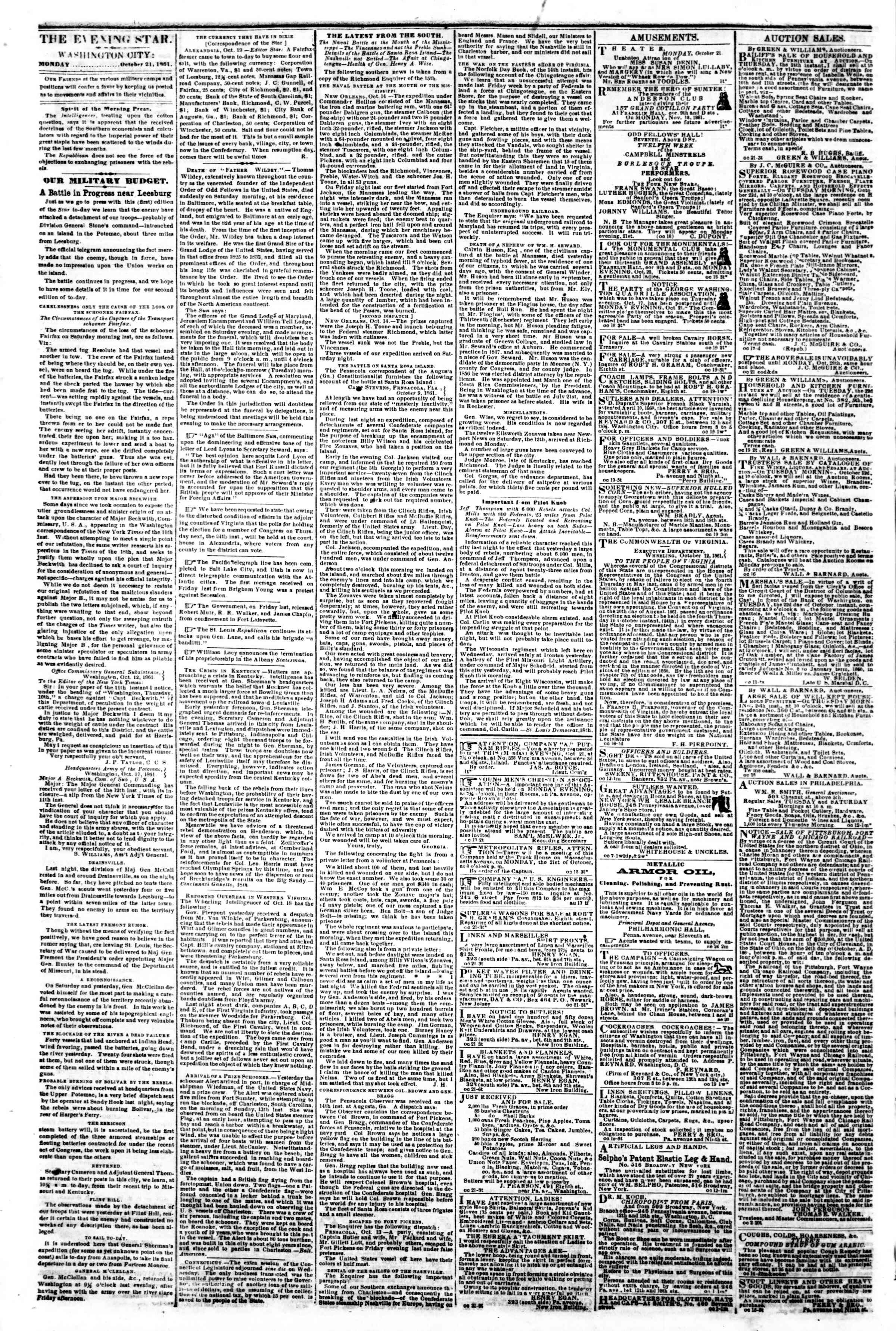 Newspaper of Evening Star dated October 21, 1861 Page 2
