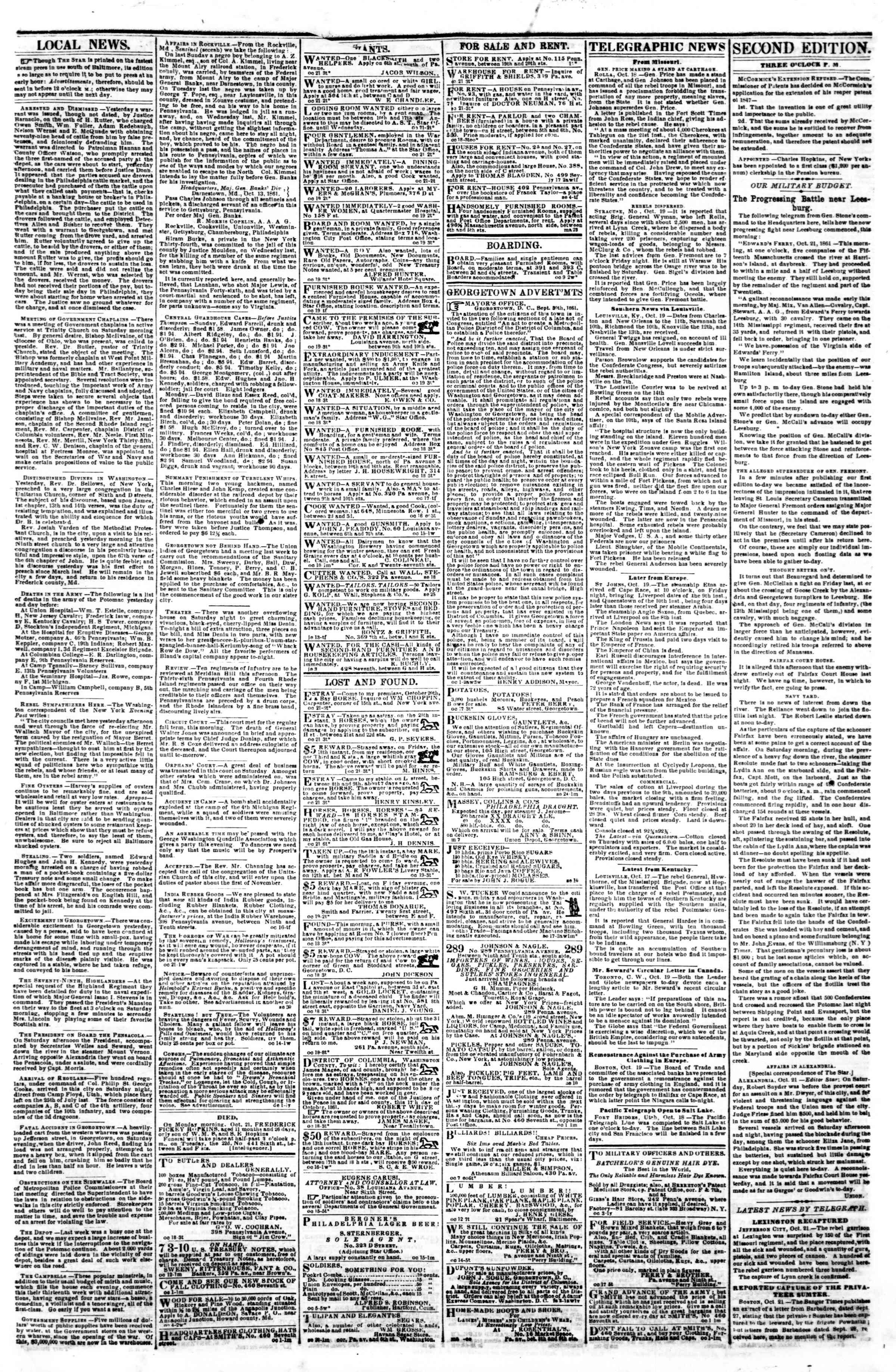 Newspaper of Evening Star dated October 21, 1861 Page 3