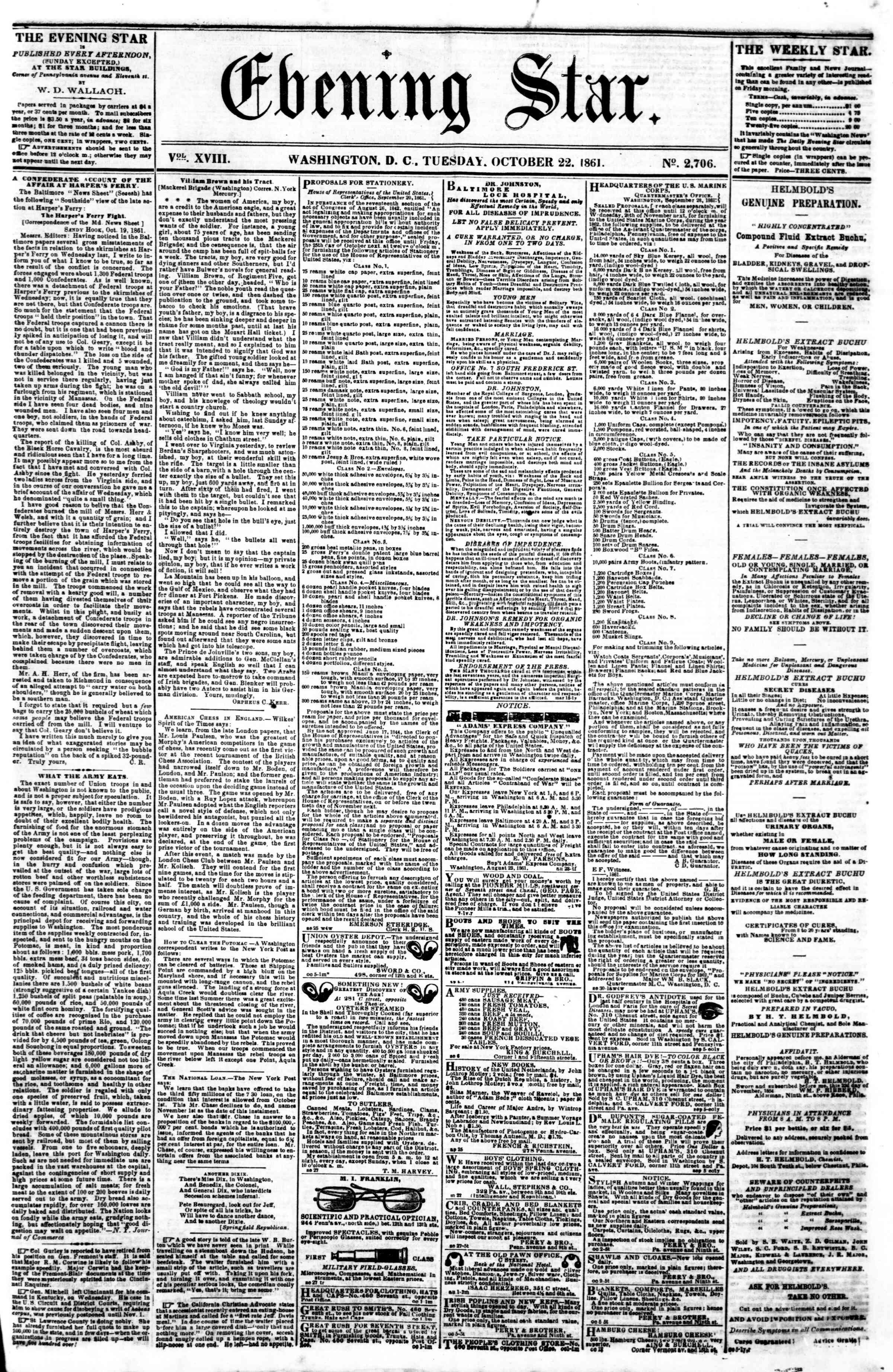 Newspaper of Evening Star dated October 22, 1861 Page 1