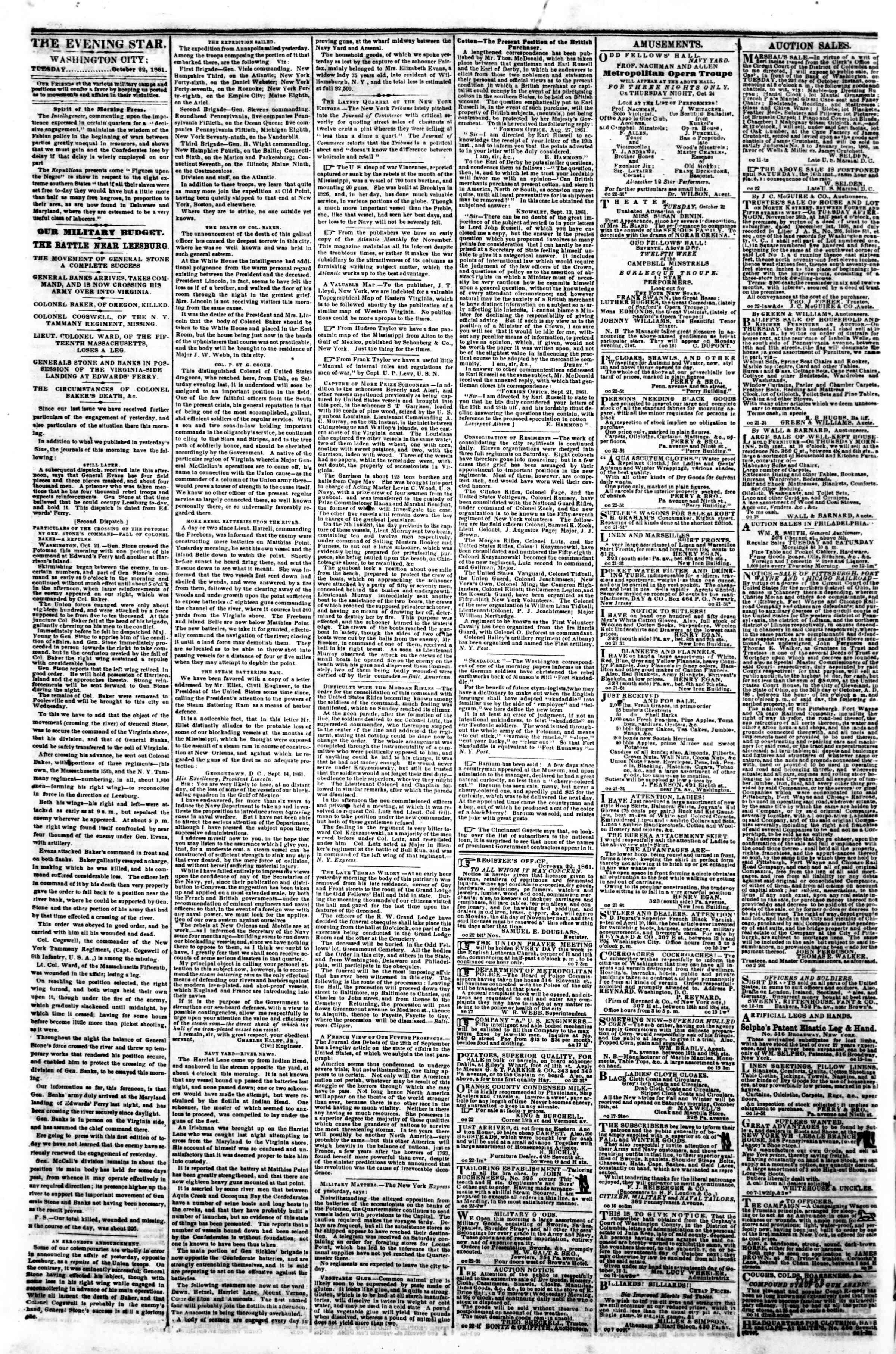 22 Ekim 1861 tarihli Evening Star Gazetesi Sayfa 2
