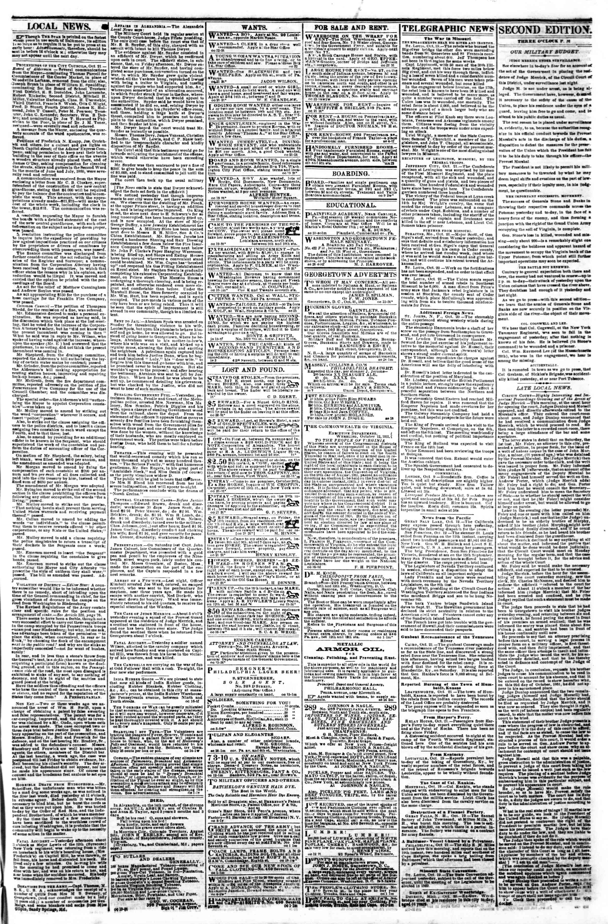 Newspaper of Evening Star dated October 22, 1861 Page 3