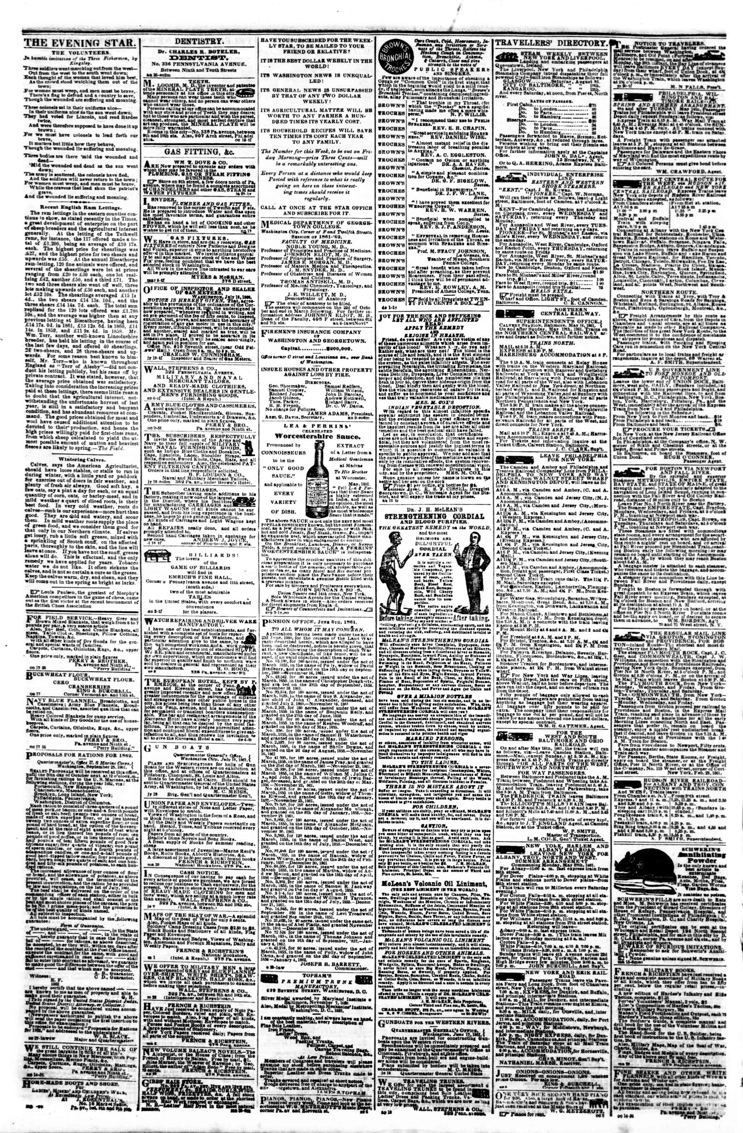 Newspaper of Evening Star dated October 22, 1861 Page 4