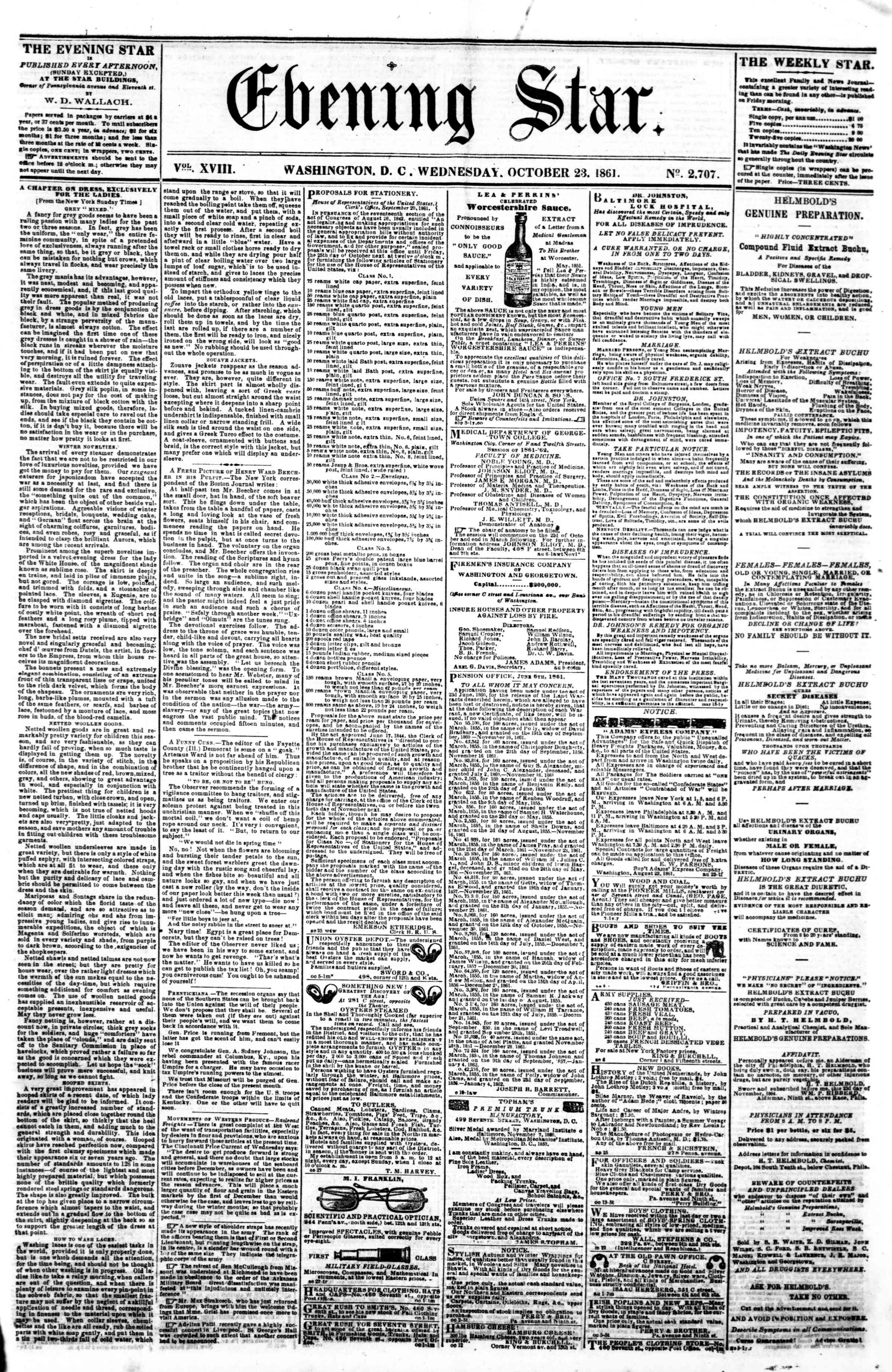 23 Ekim 1861 tarihli Evening Star Gazetesi Sayfa 1