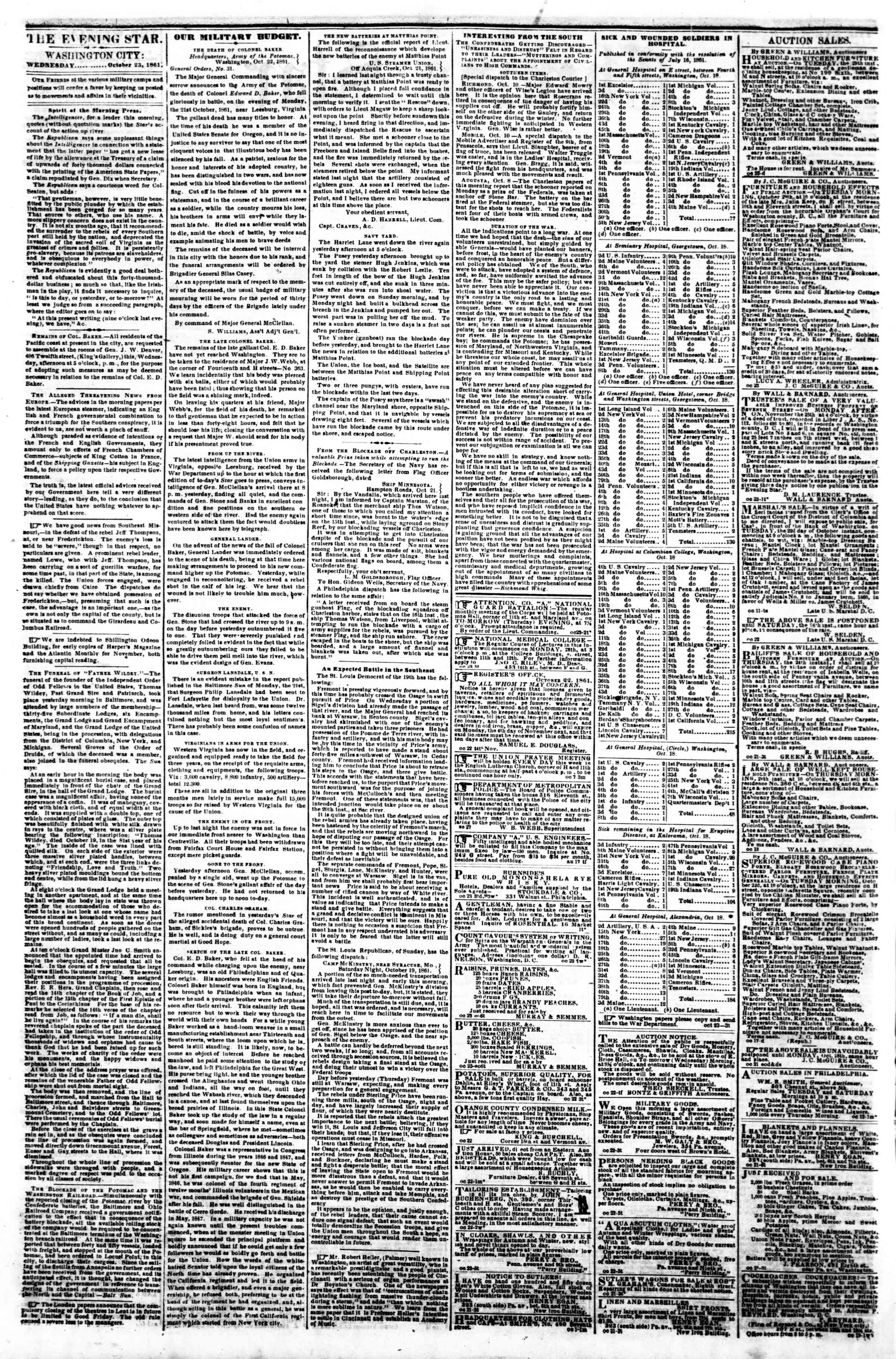 Newspaper of Evening Star dated October 23, 1861 Page 2